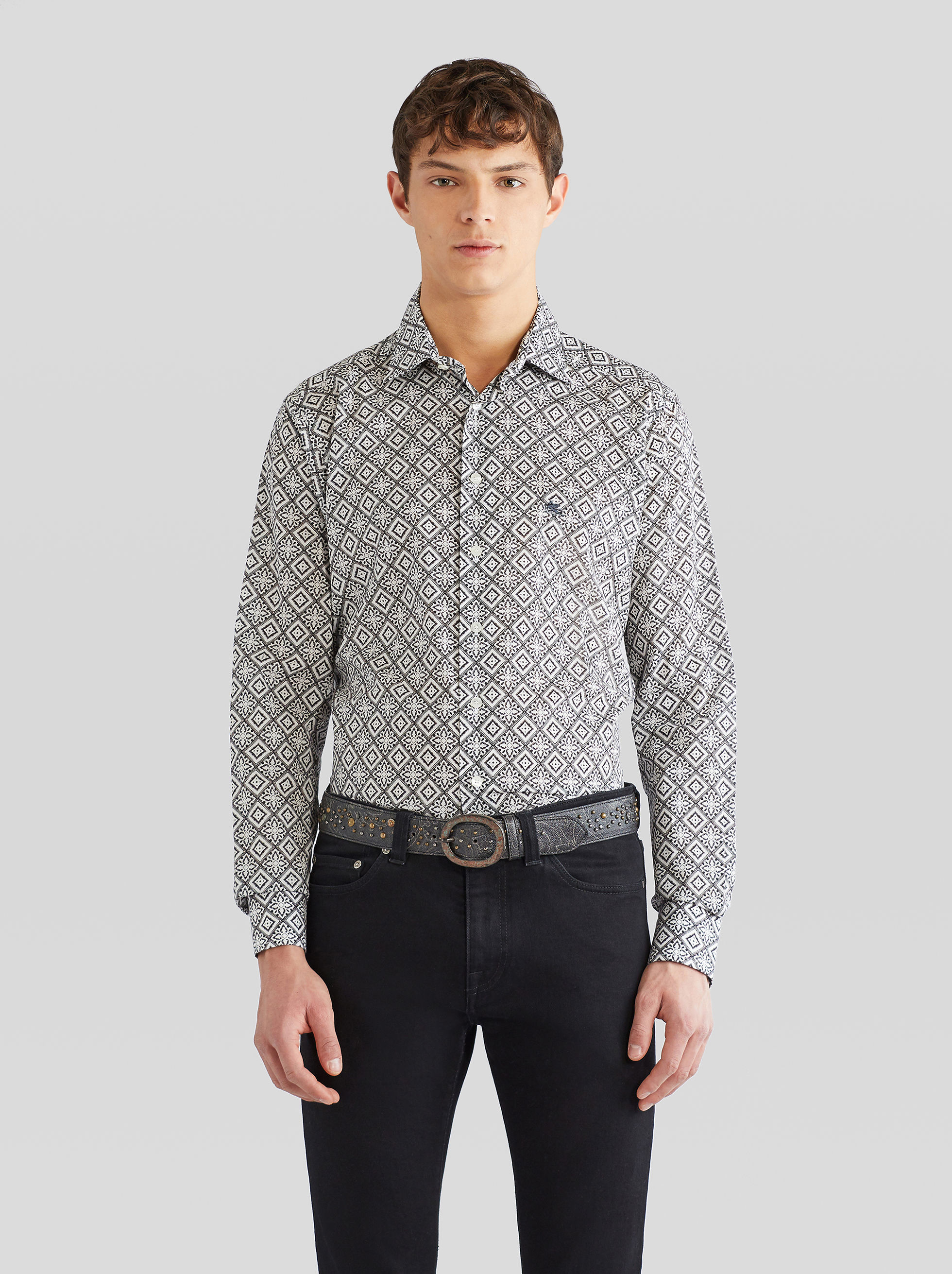 TIE FABRIC PRINT SHIRT WITH PEGASO
