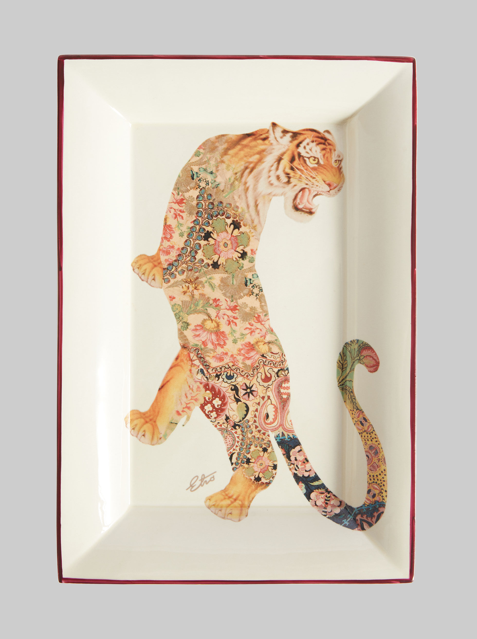 RECTANGULAR CERAMIC TRAY WITH TIGER