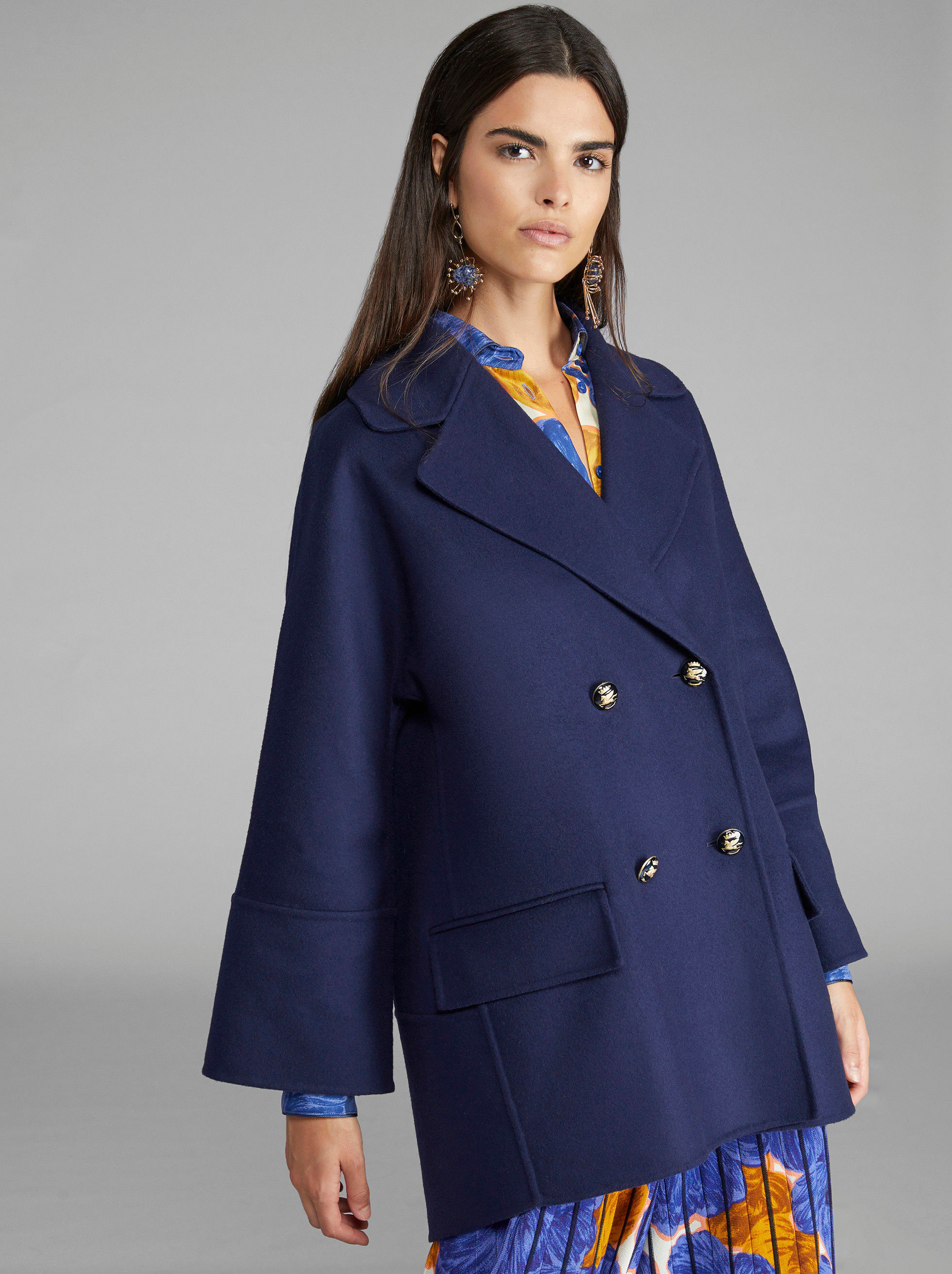 DOUBLE-BREASTED COAT WITH PEGASO BUTTONS