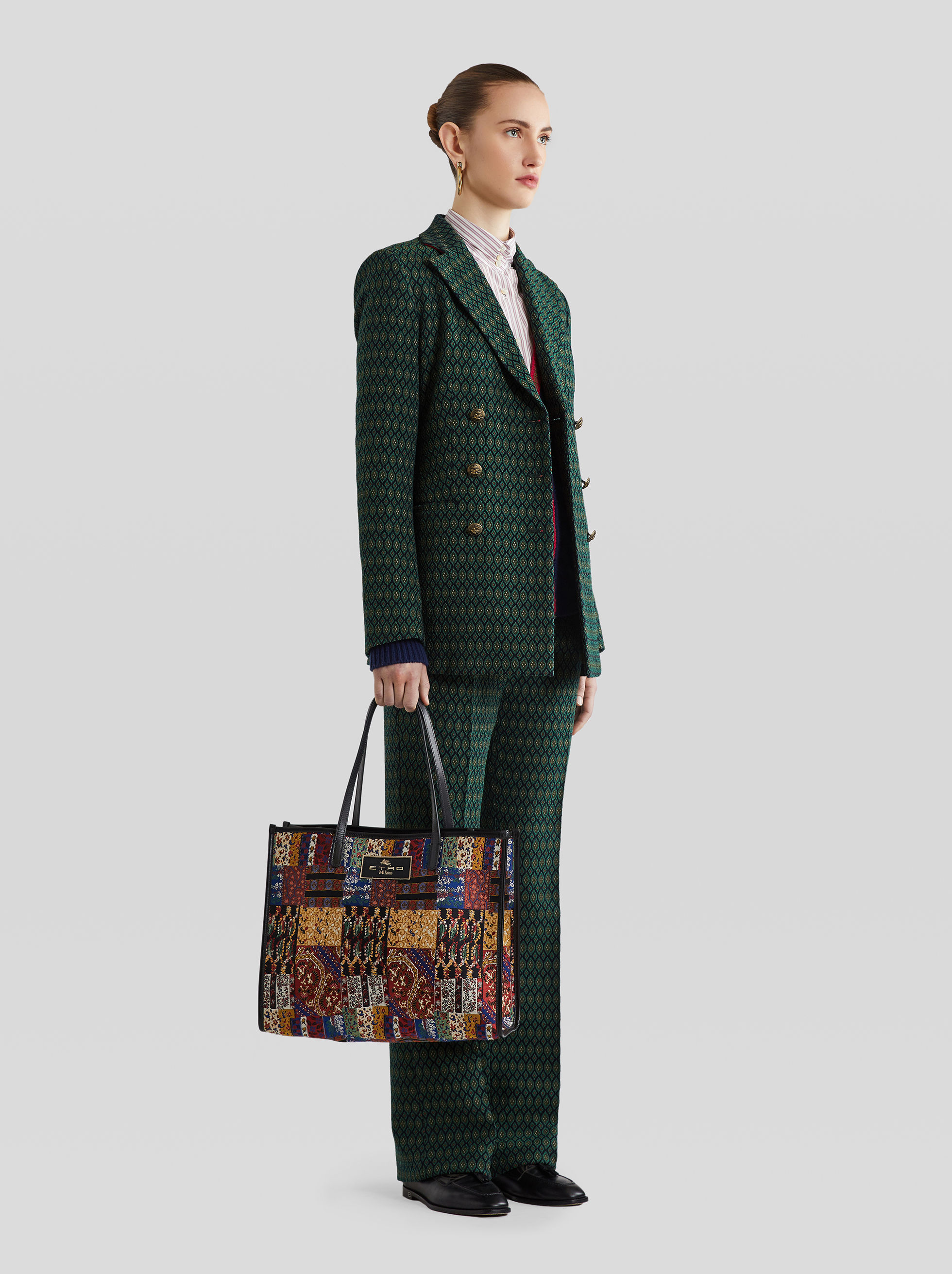 JACQUARD PATCHWORK SHOPPING BAG