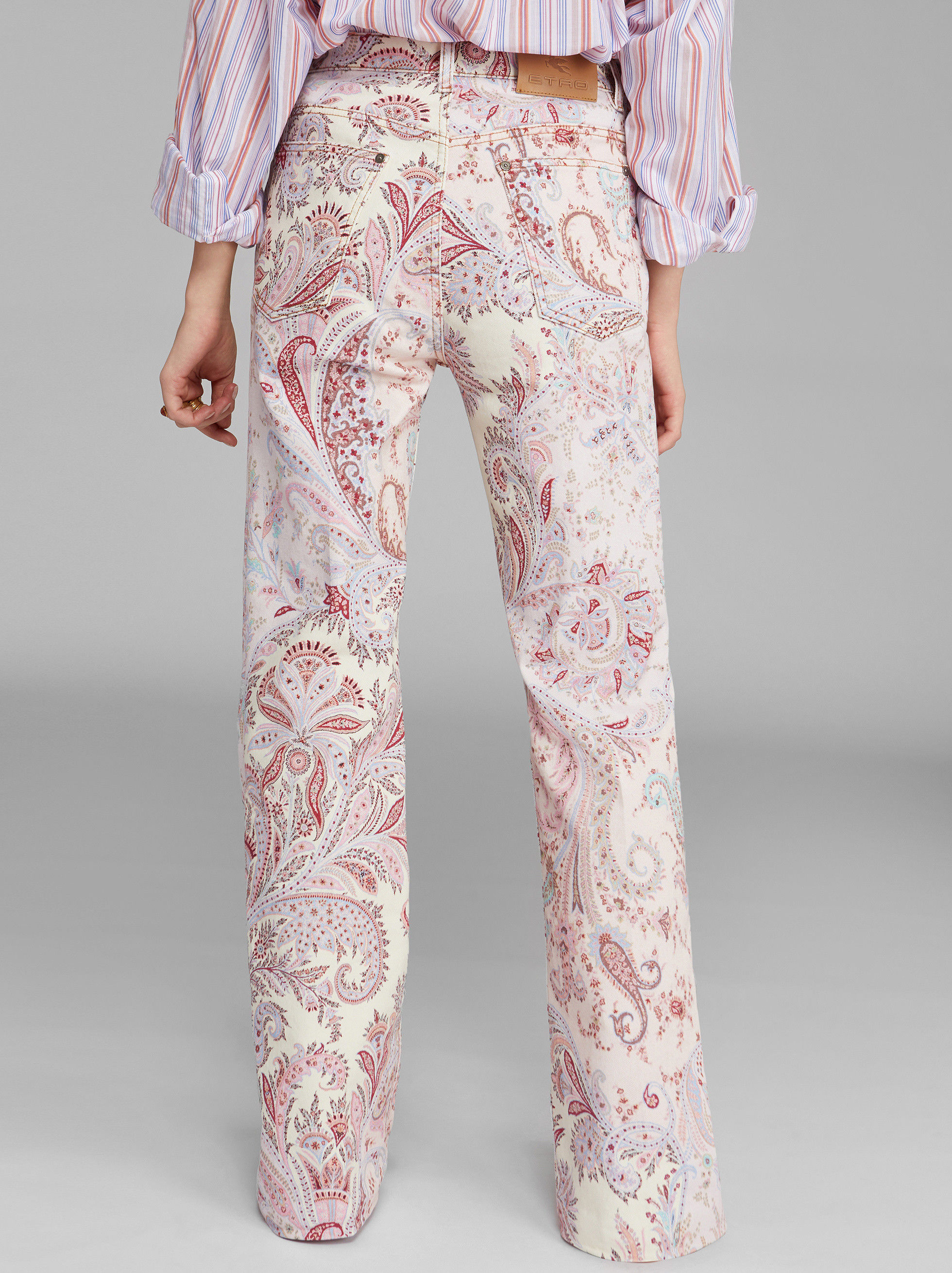 FLARED JEANS WITH FLORAL PAISLEY PRINT