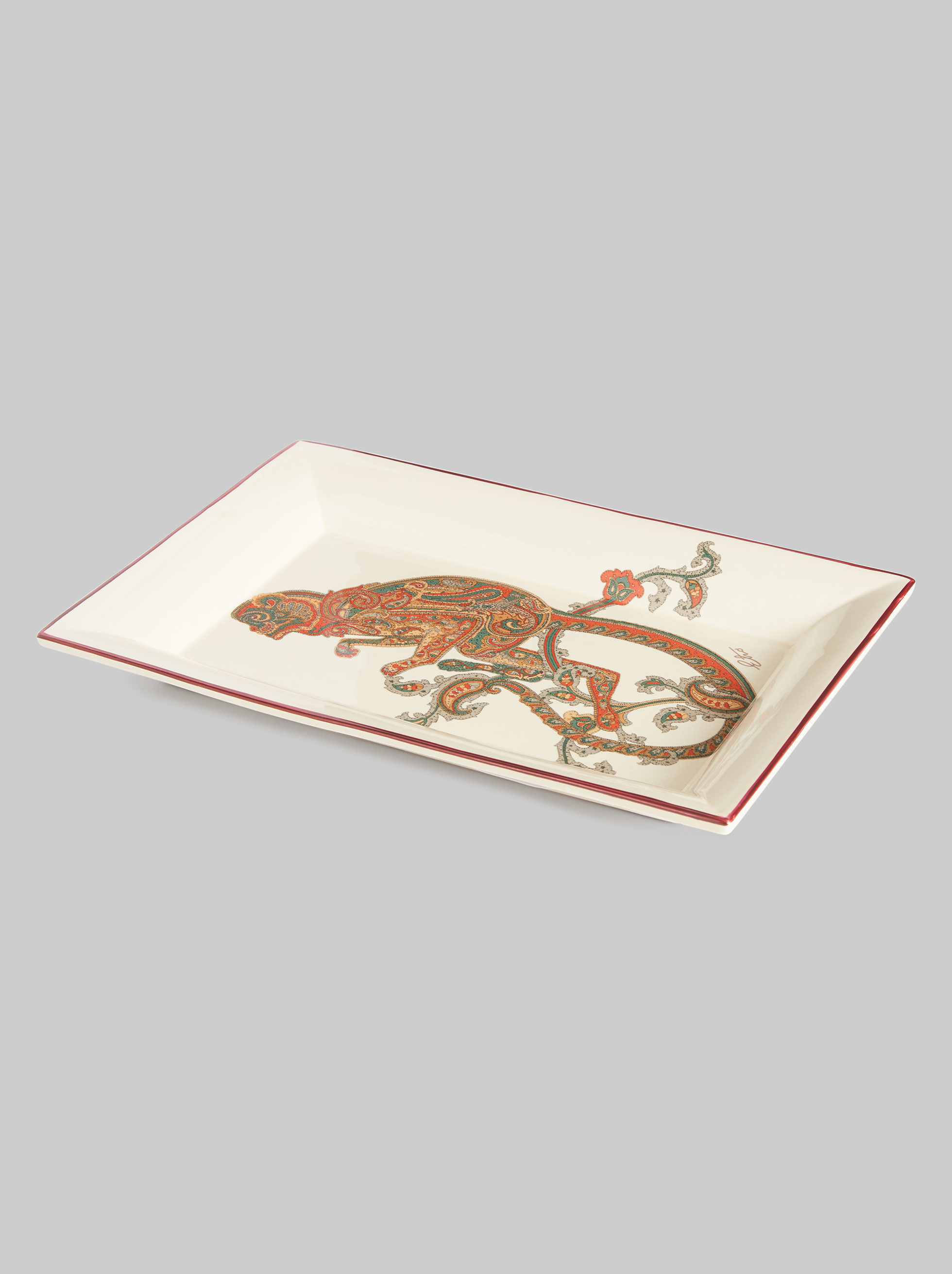 RECTANGULAR CERAMIC TRAY WITH MONKEY
