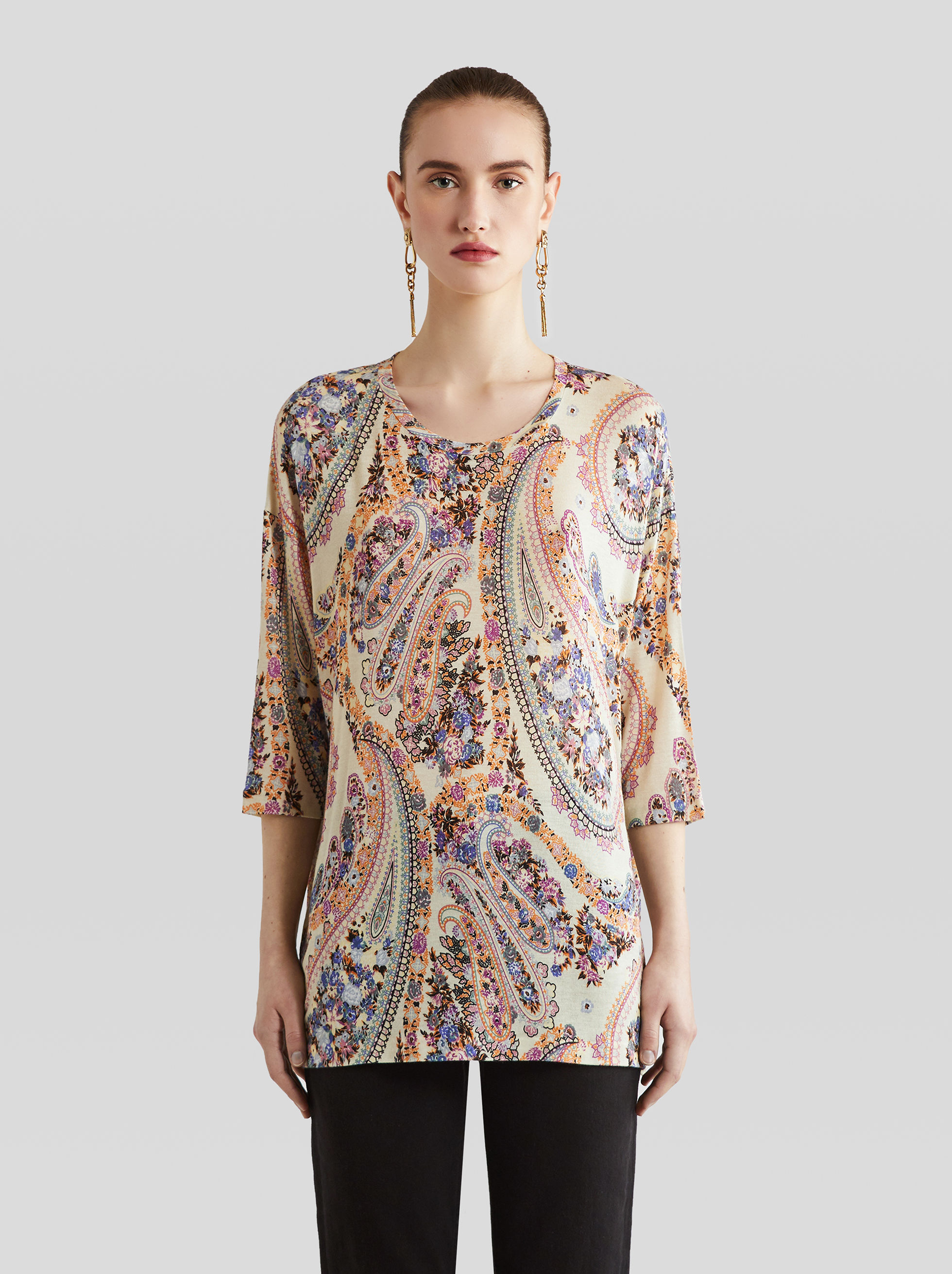 JERSEY JUMPER WITH PAISLEY PRINT