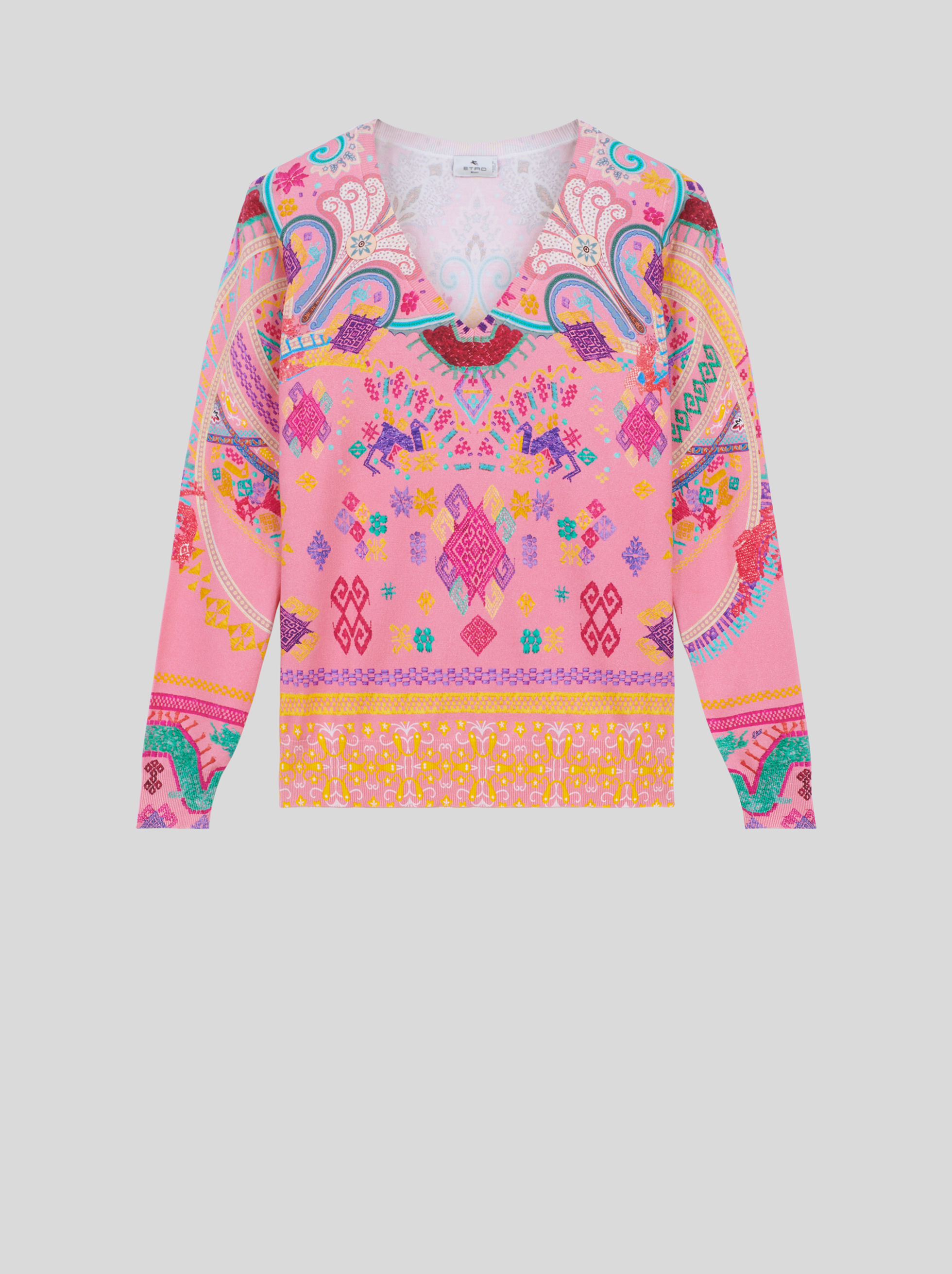 SILK JUMPER WITH EMBROIDERY-EFFECT NAÏF PRINT