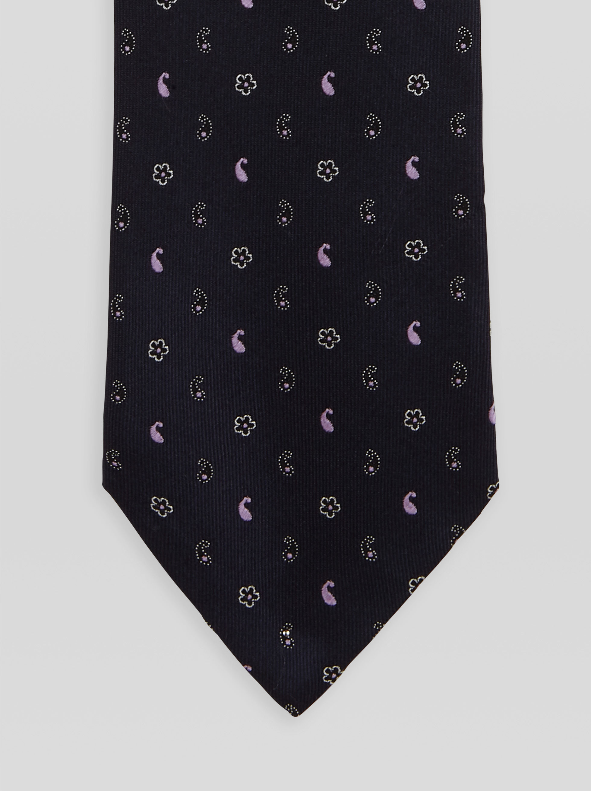 FLORAL AND PAISLEY PATTERN JACQUARD TIE