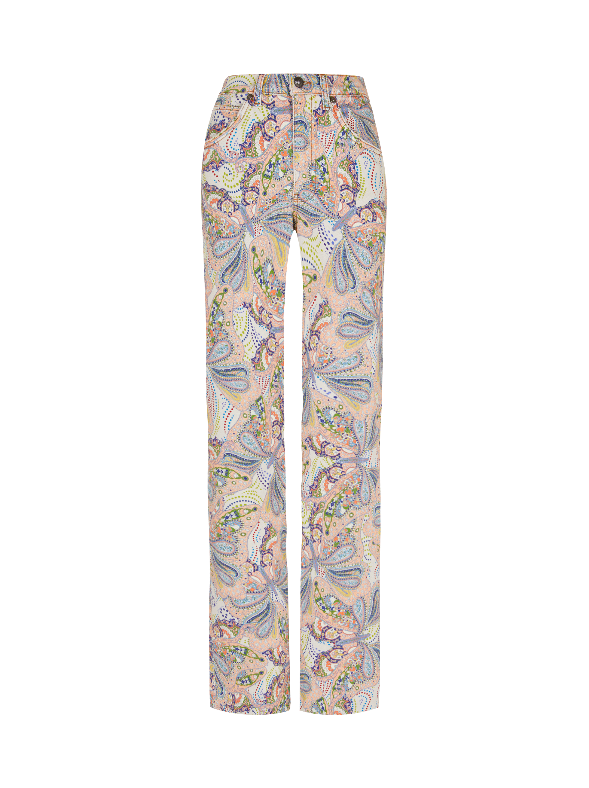 FLARED JEANS WITH BUTTERFLY PAISLEY PRINT