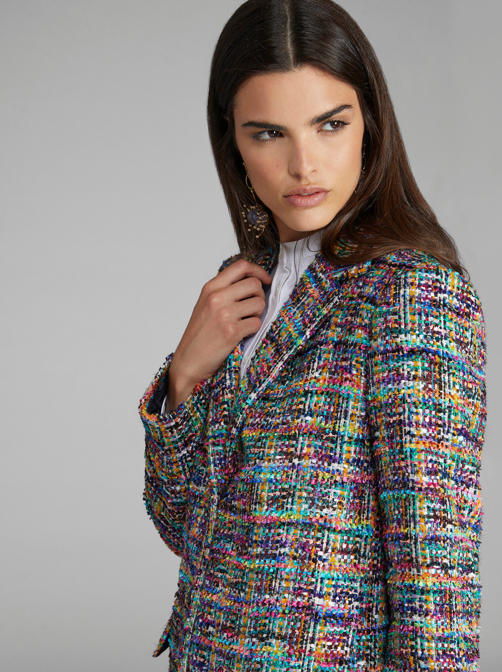 BOUCLÉ COAT WITH PEGASO BUTTONS