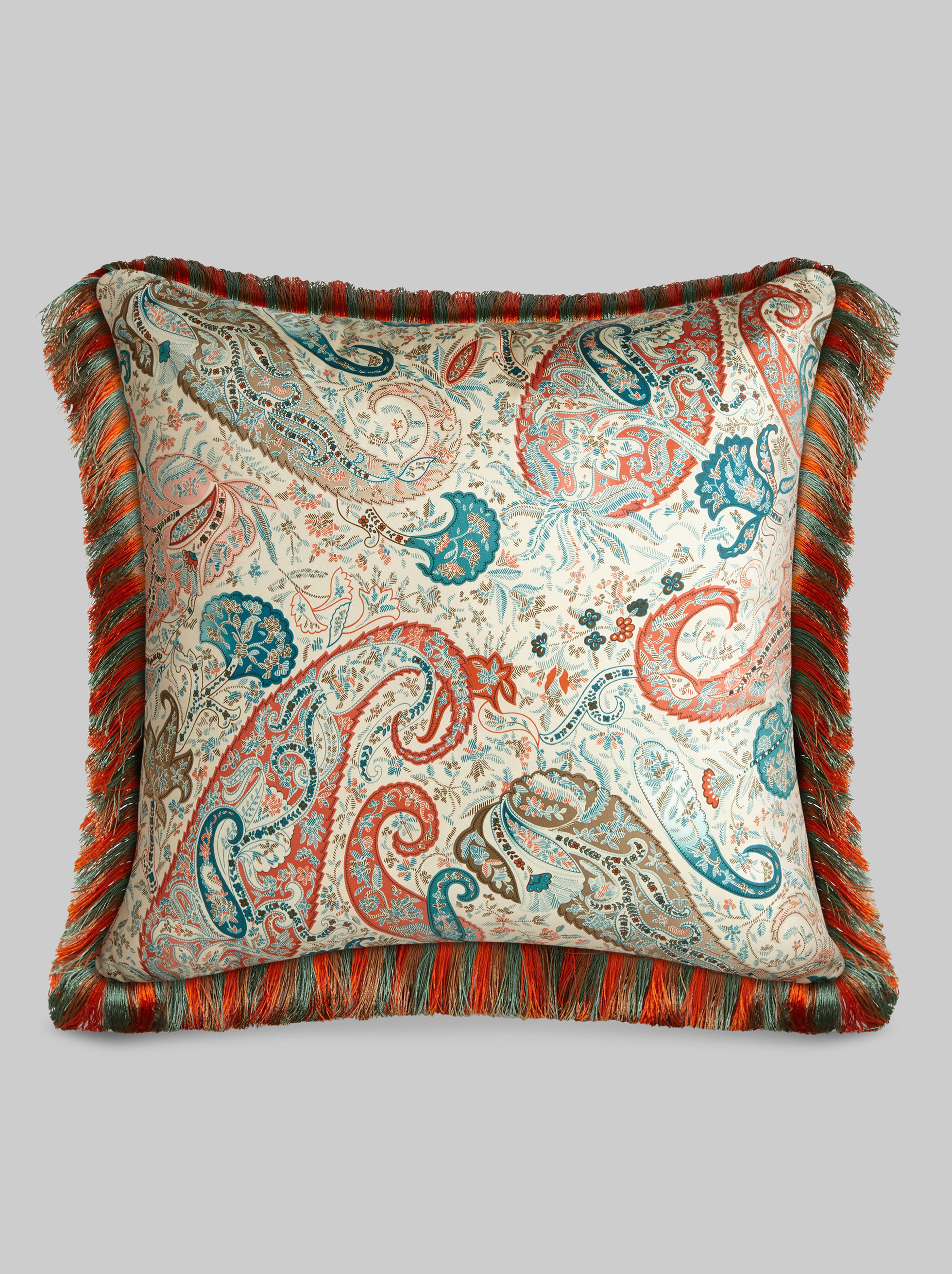 CUSHION WITH FRINGE AND PAISLEY PRINT