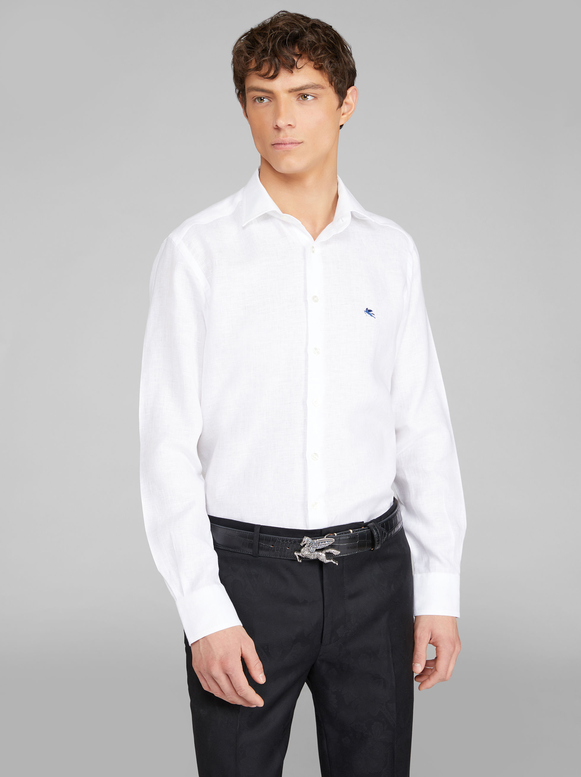 LINEN SHIRT WITH PEGASO EMBROIDERY