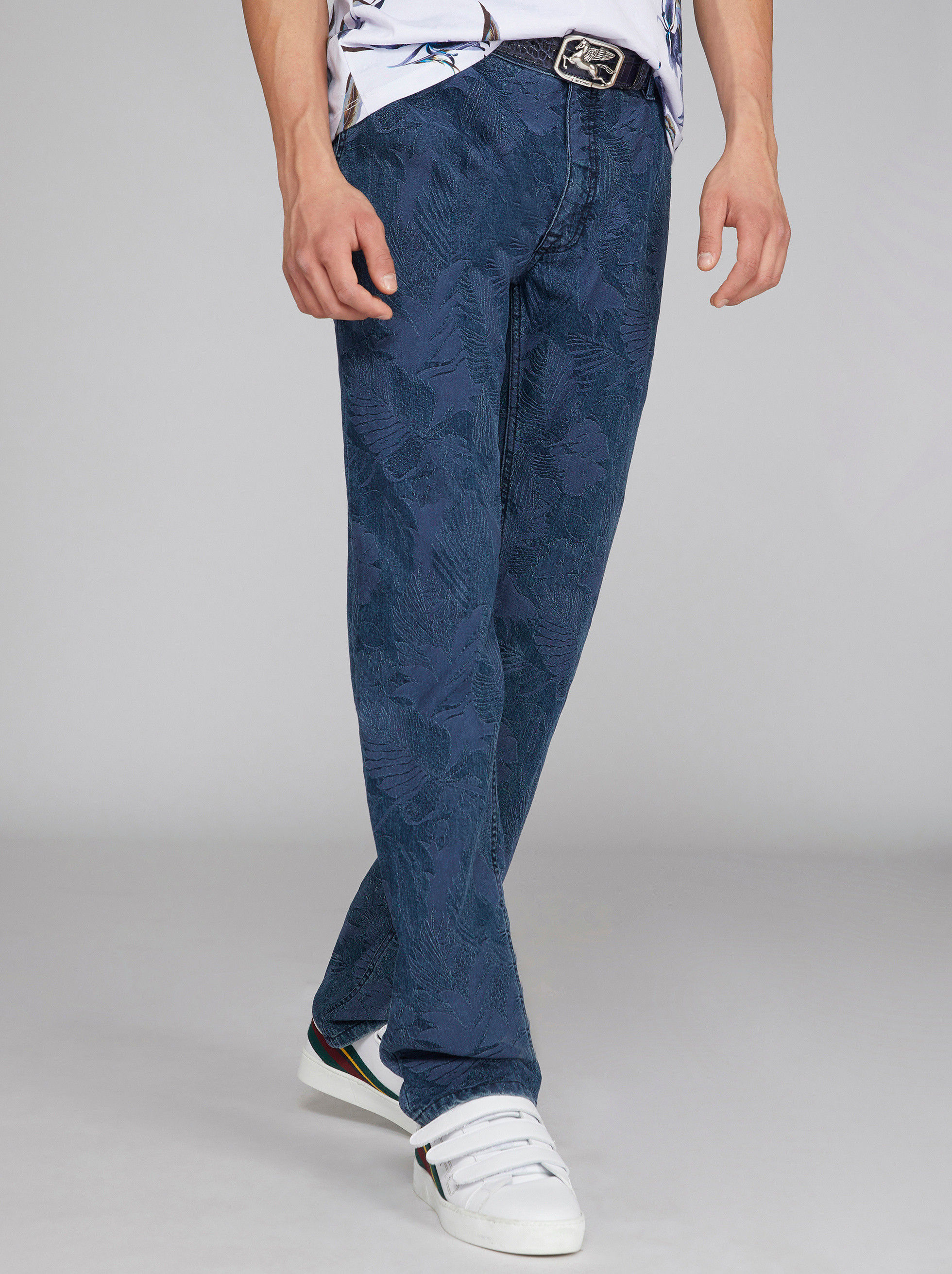 JACQUARD DENIM CHINO TROUSERS