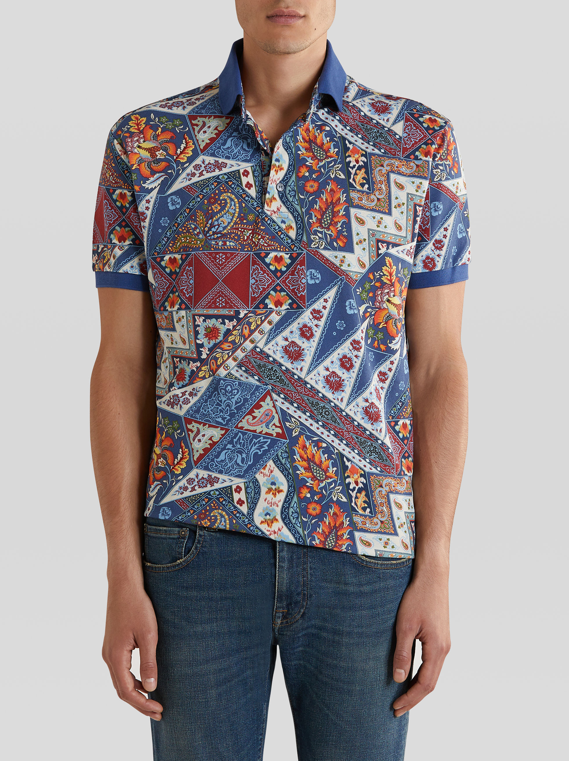 PATCHWORK PRINT COTTON POLO SHIRT