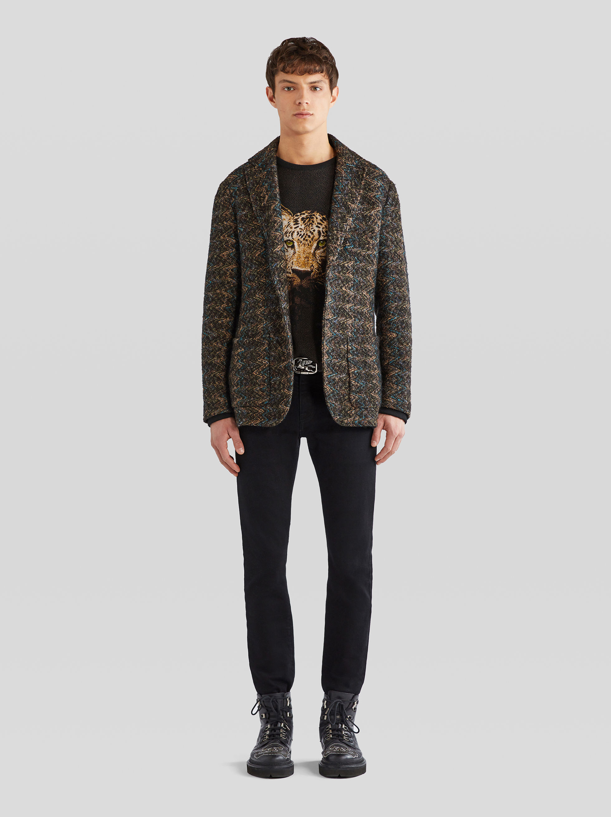 TWILL PATTERN JACQUARD KNIT JACKET