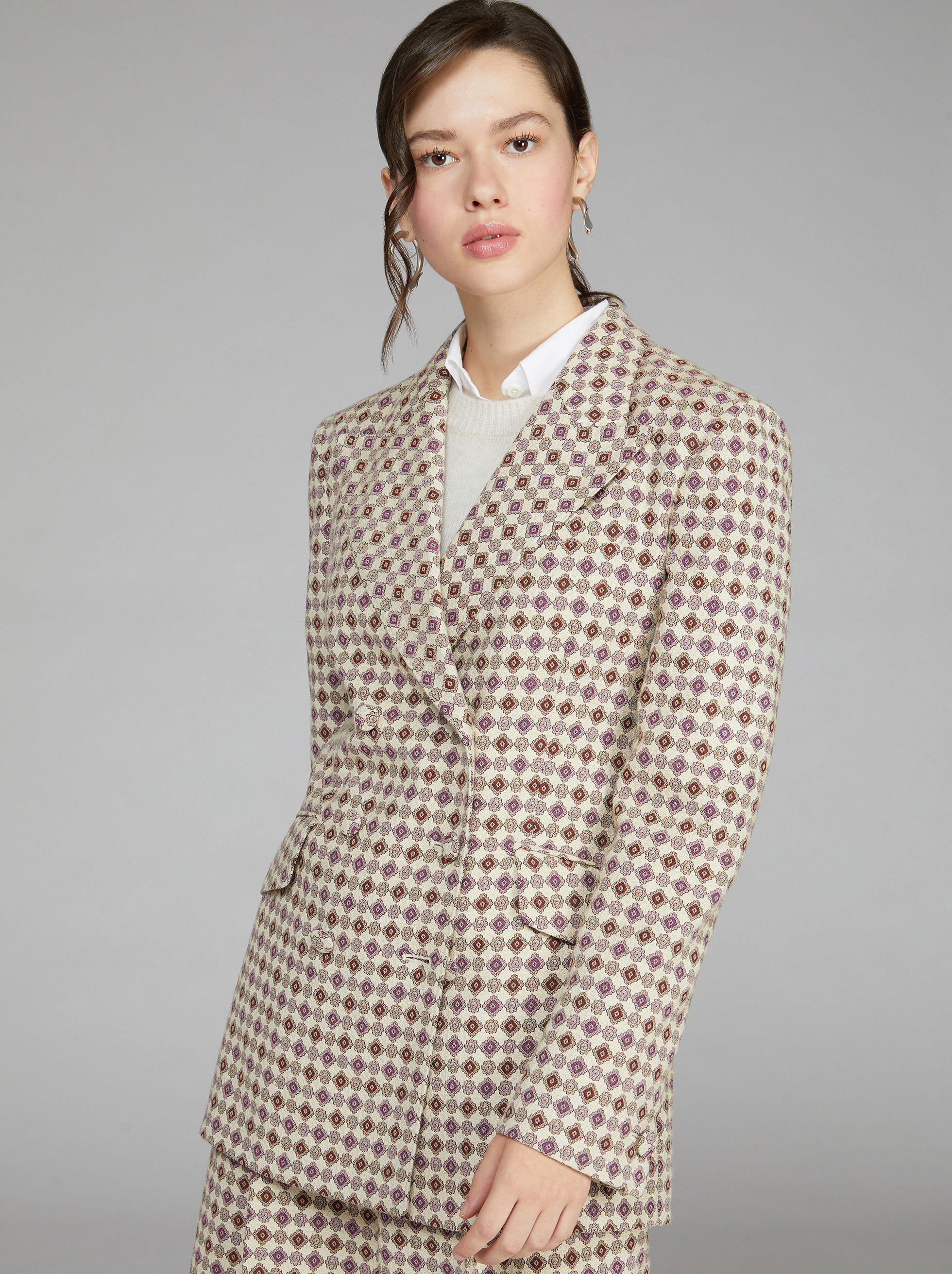 TIE FABRIC PRINT DOUBLE-BREASTED JACKET