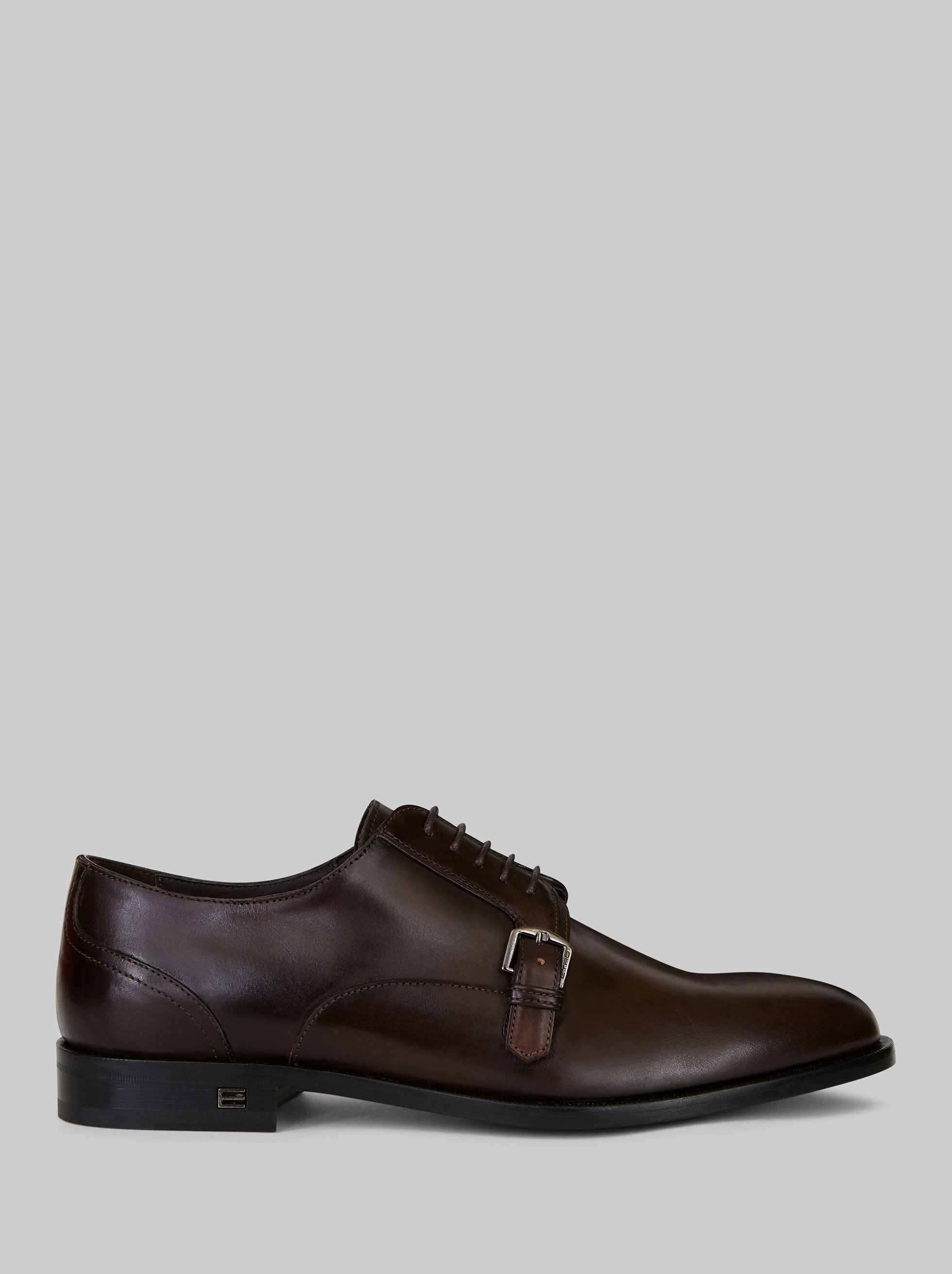 LEATHER LACE-UP SHOES WITH BUCKLE