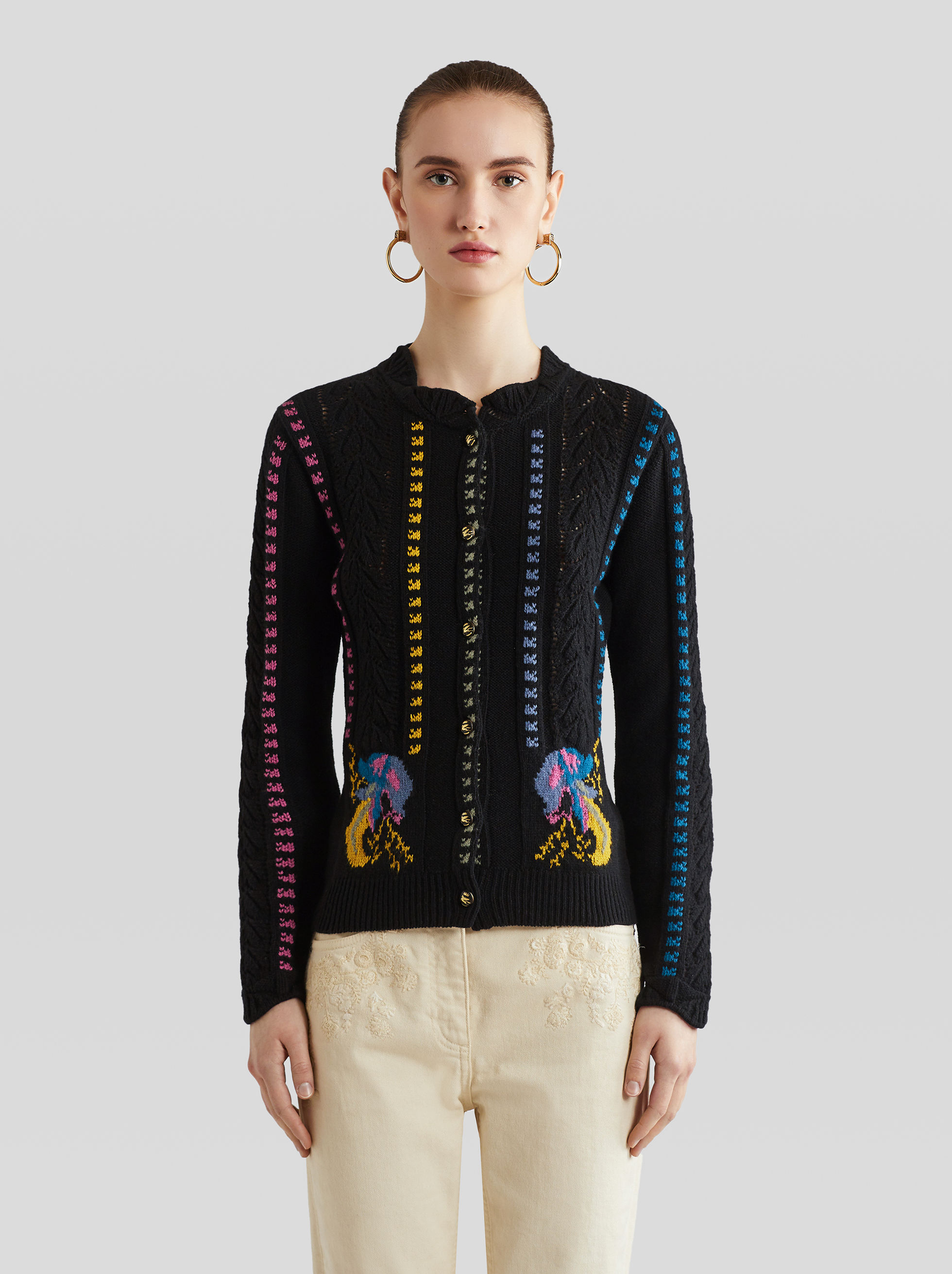 KNITTED CARDIGAN WITH EMBROIDERY
