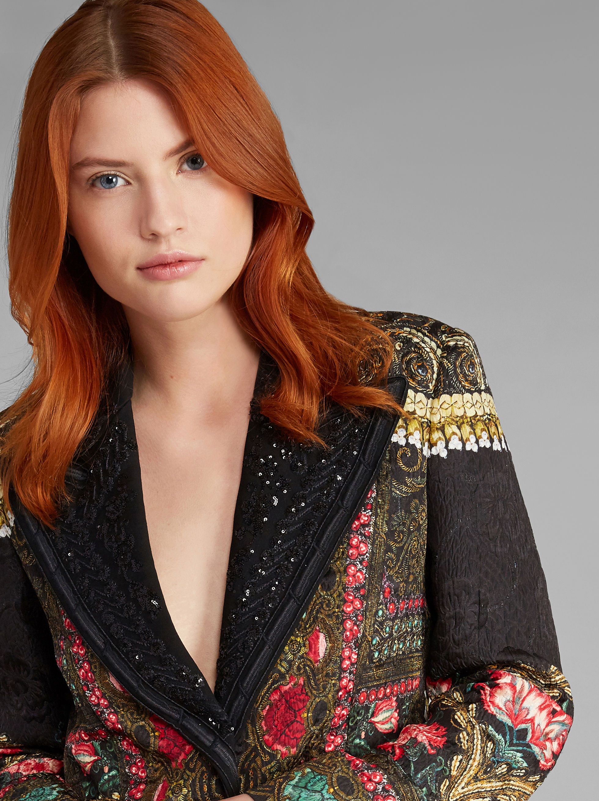 FLORAL-PRINT JACKET WITH EMBROIDERIES