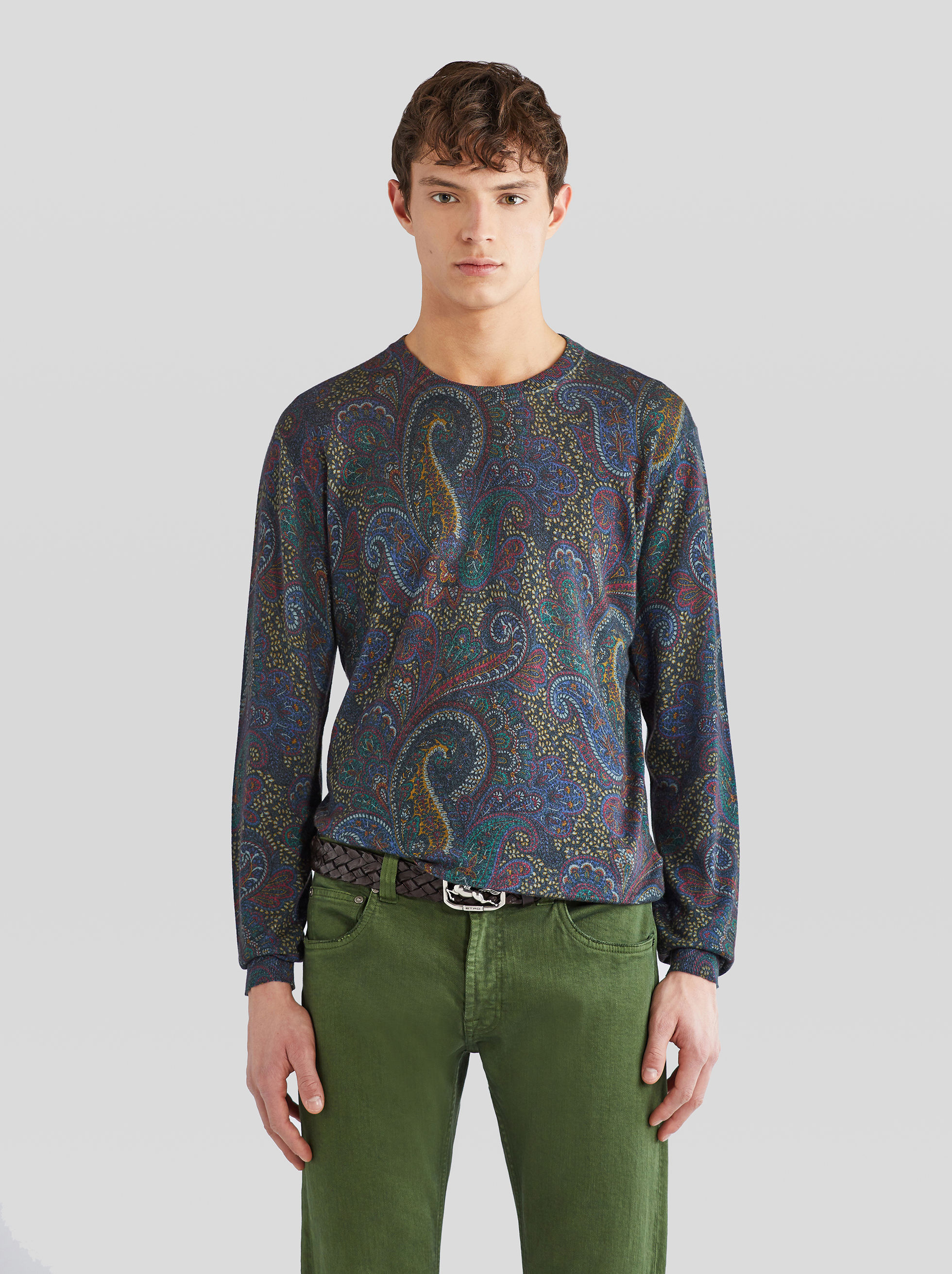 CASHMERE AND SILK JUMPER WITH PAISLEY PRINT