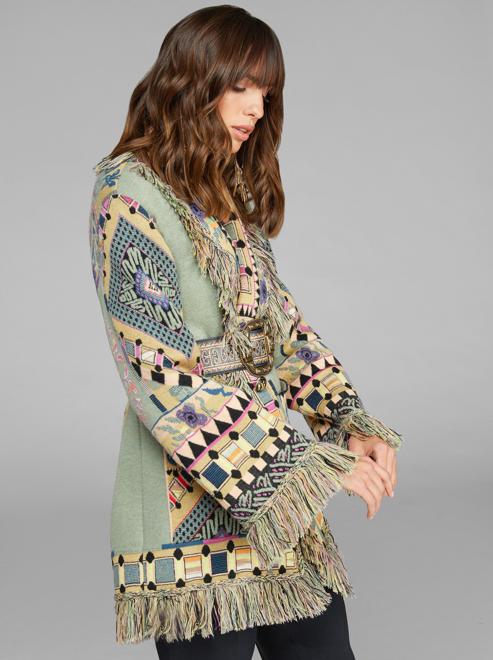 JACQUARD CARDIGAN WITH FRINGE