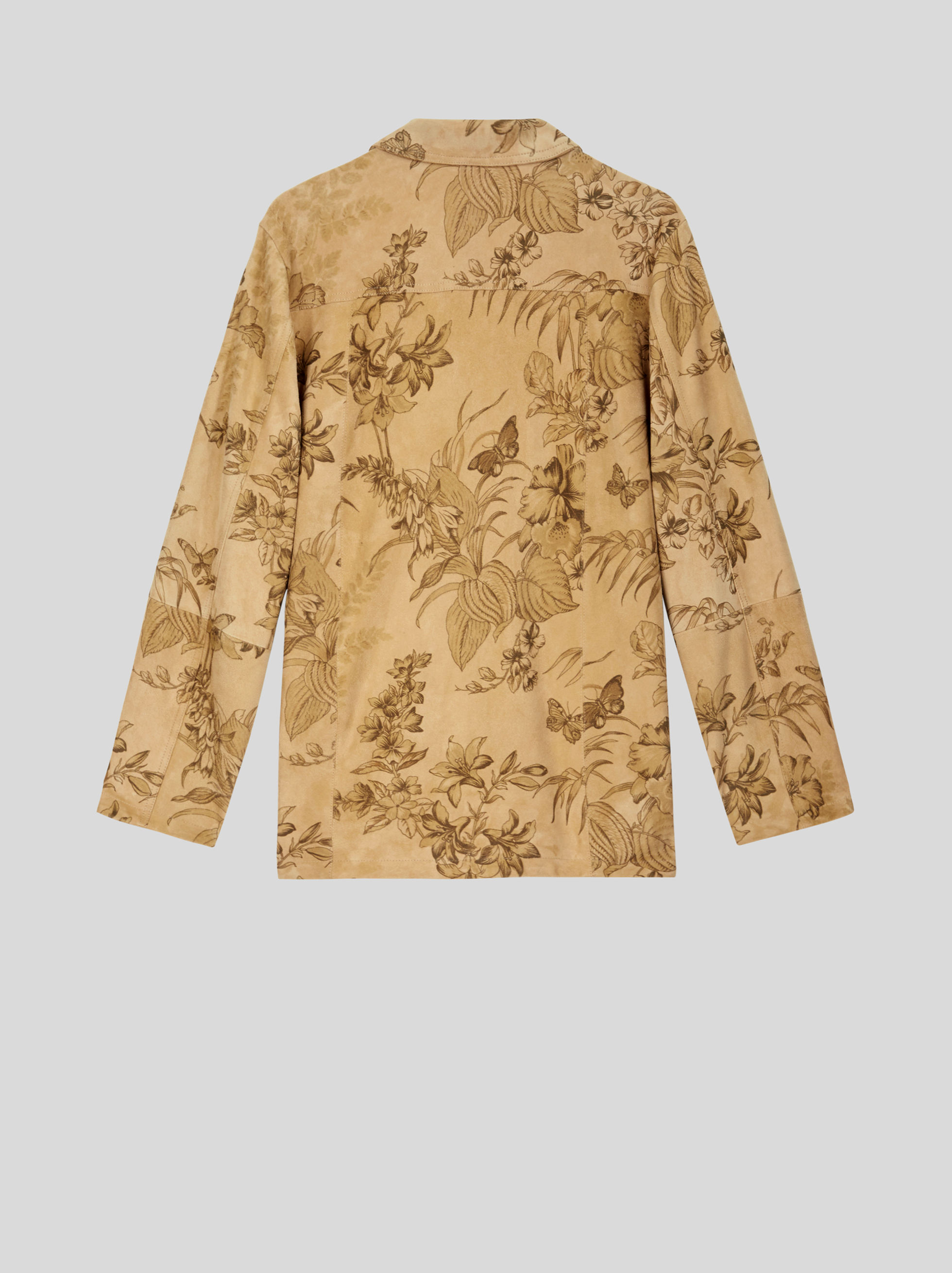 LEAFY FLORAL PRINT LEATHER JACKET