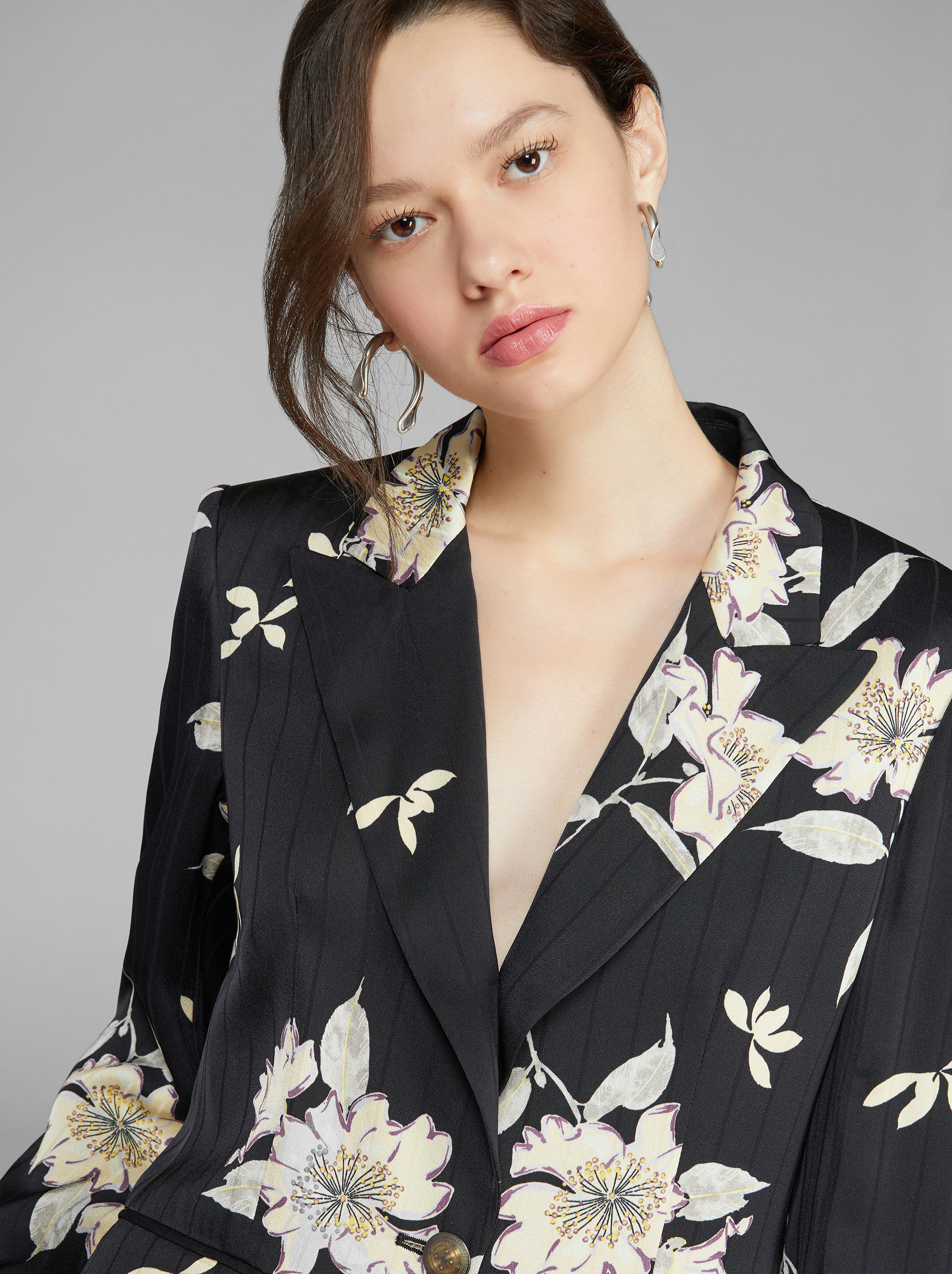 FLORAL PRINT PINSTRIPE TAILORED JACKET