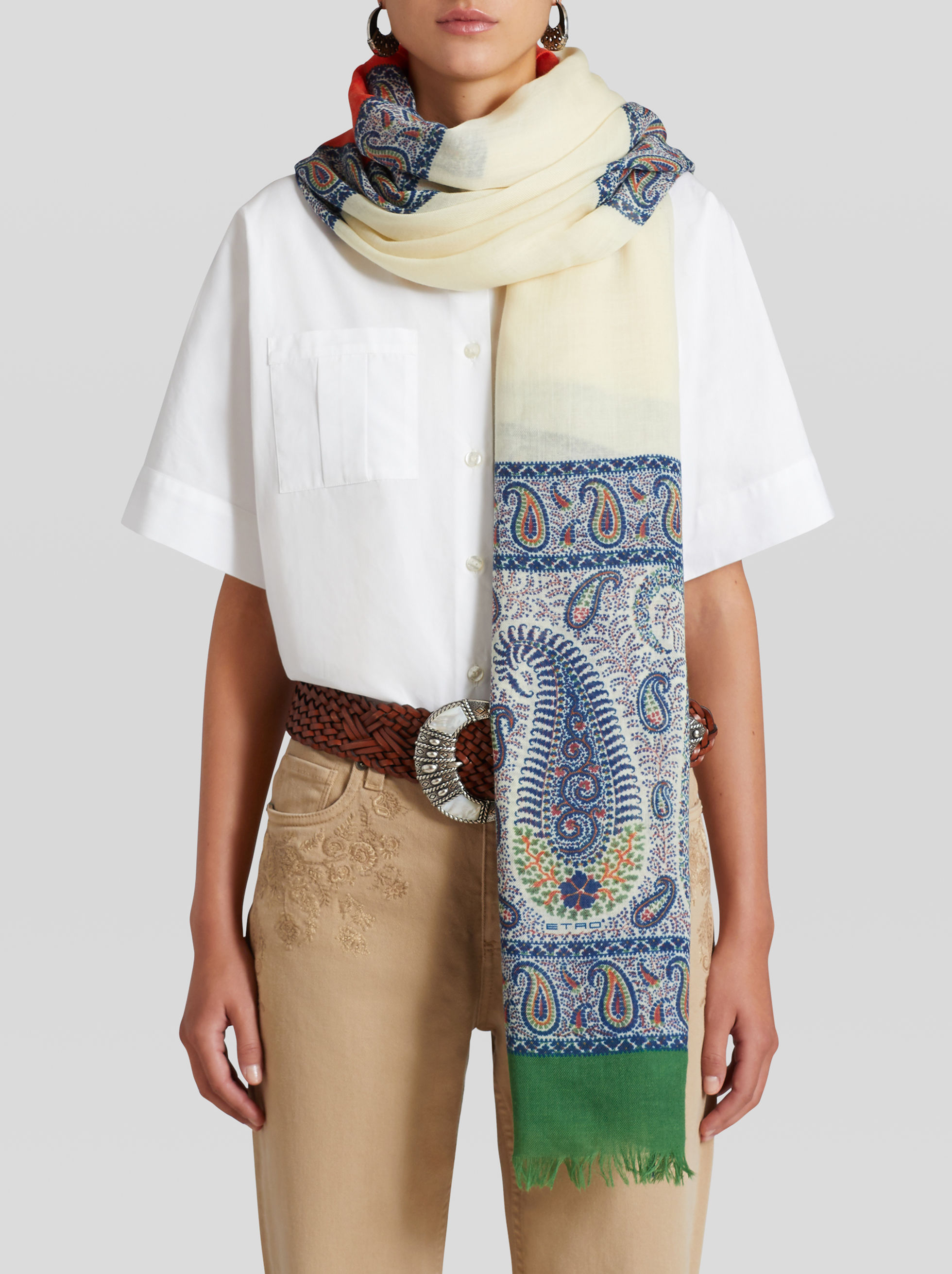 MOSAIC PAISLEY CASHMERE SCARF