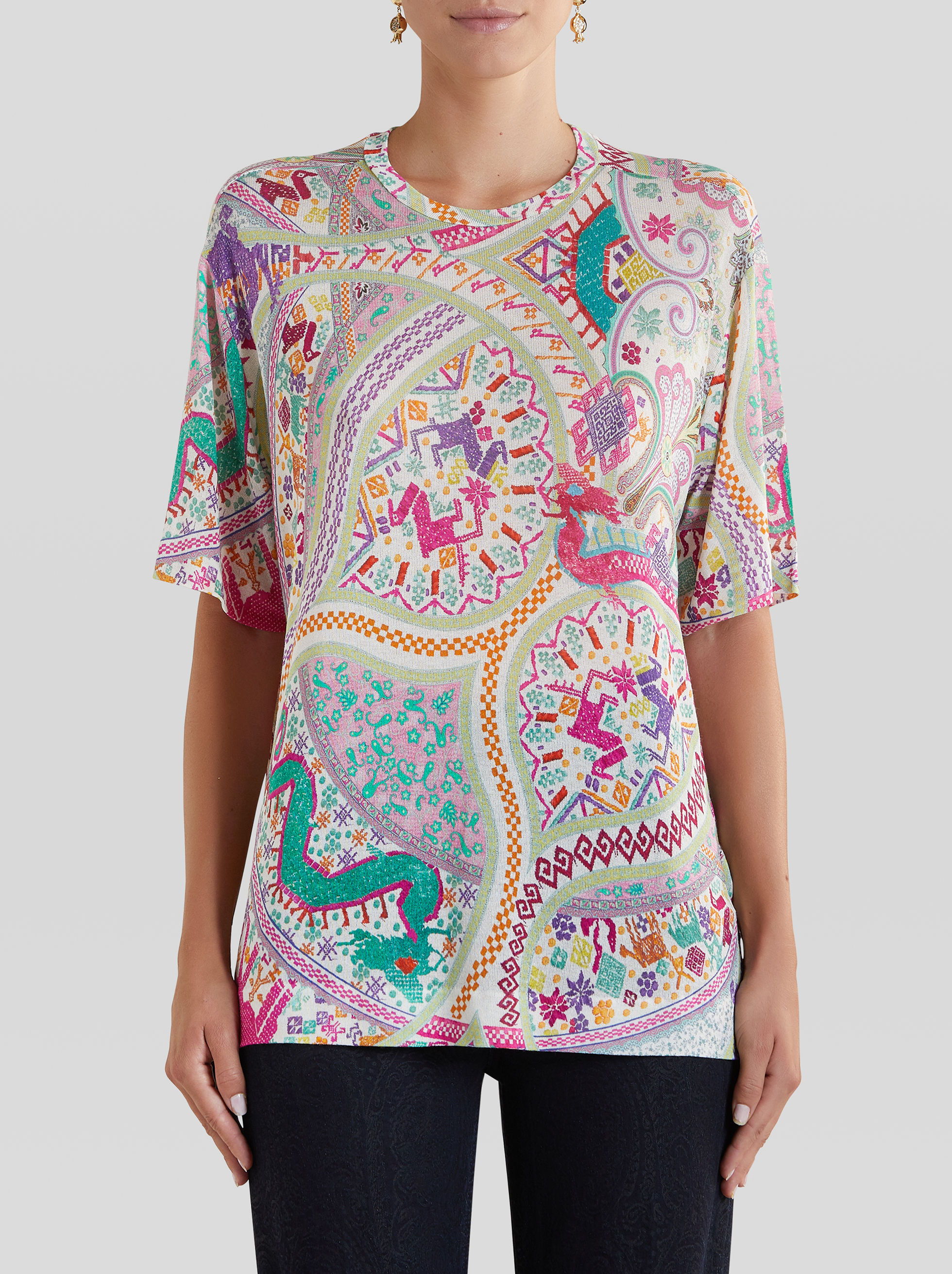 NAÏF EMBROIDERY-EFFECT PRINT T-SHIRT