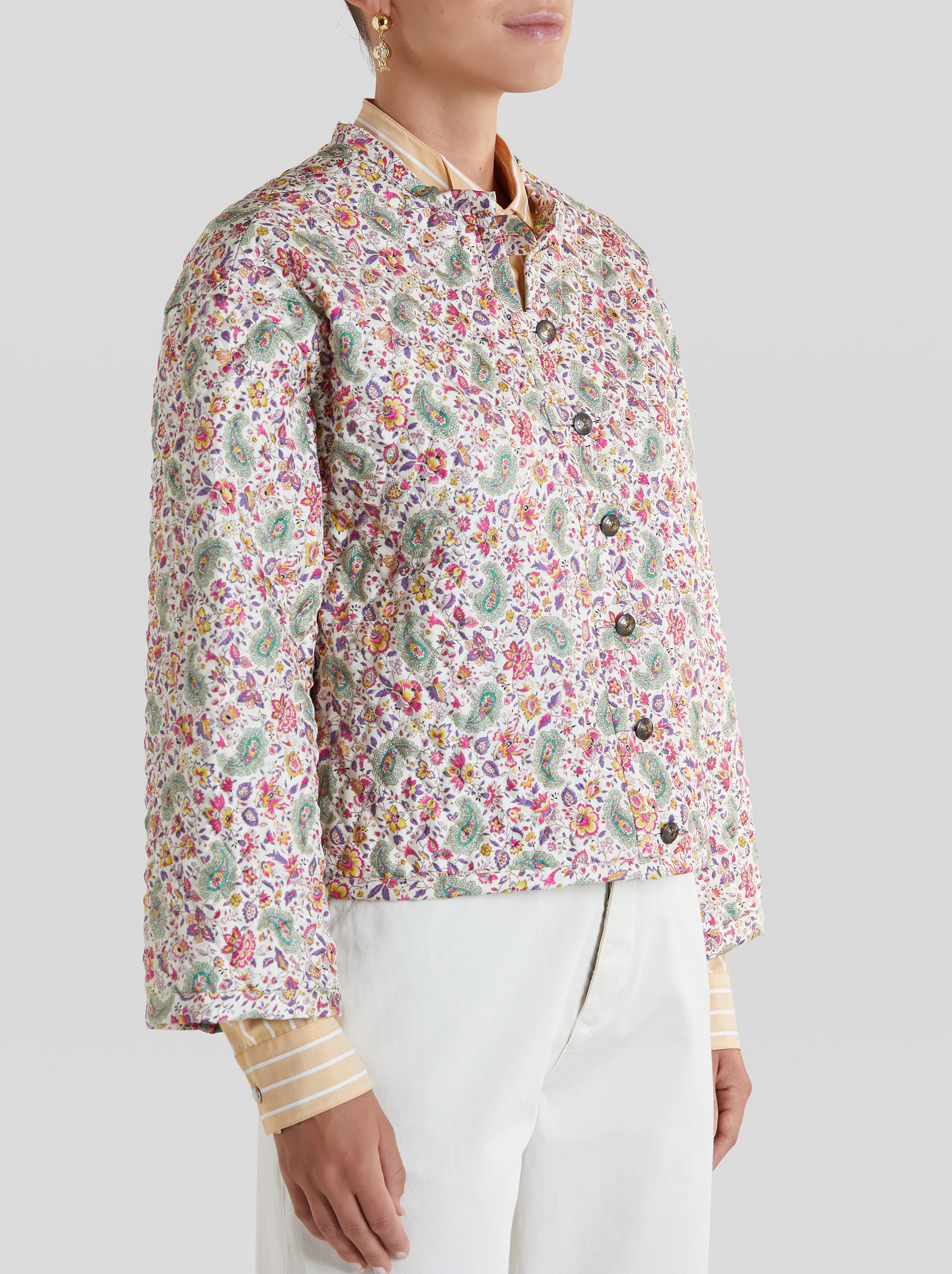 QUILTED JACKET WITH FLORAL PAISLEY PATTERN