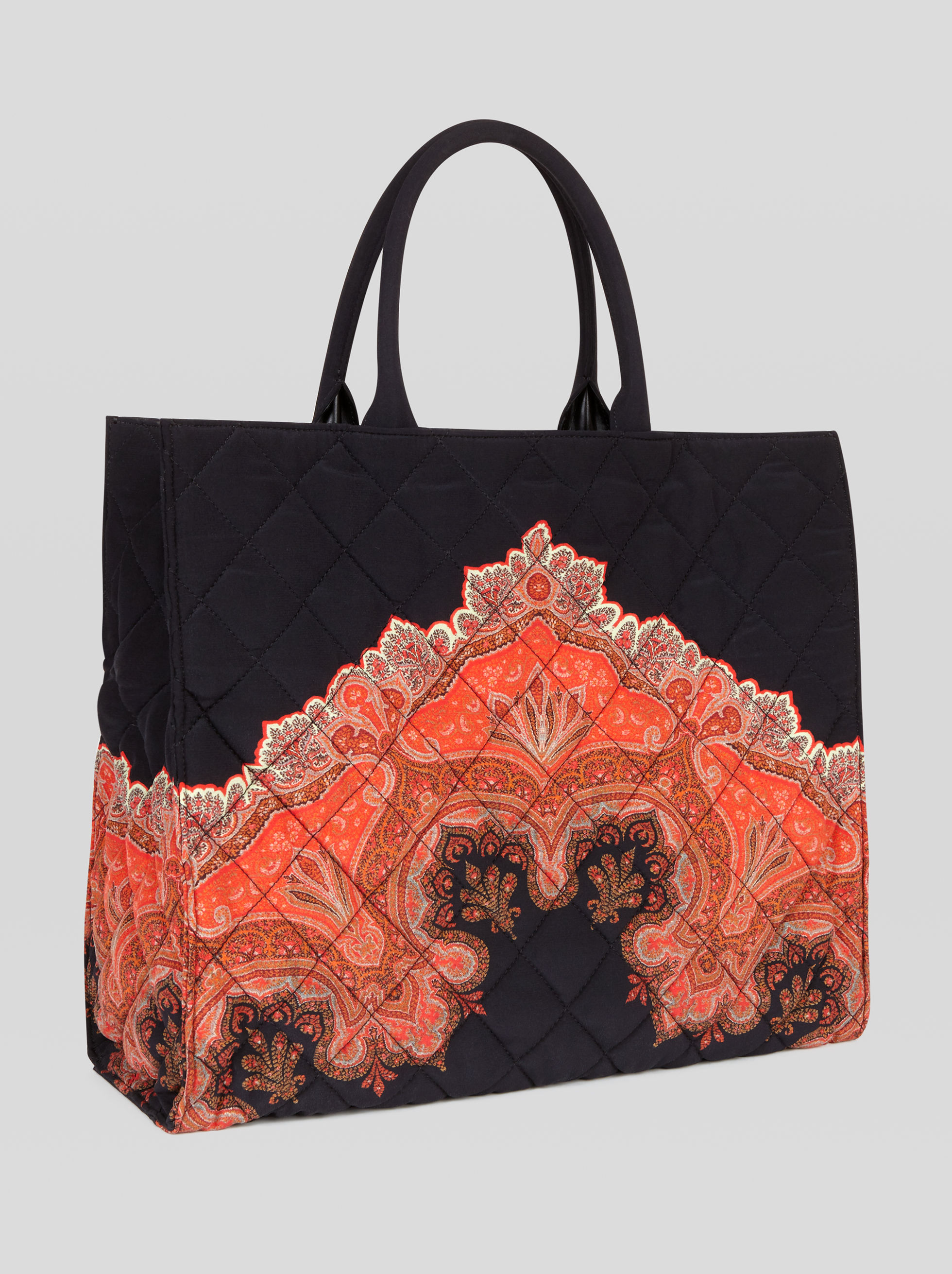 MATELASSÉ SHOPPING BAG WITH PAISLEY PRINT