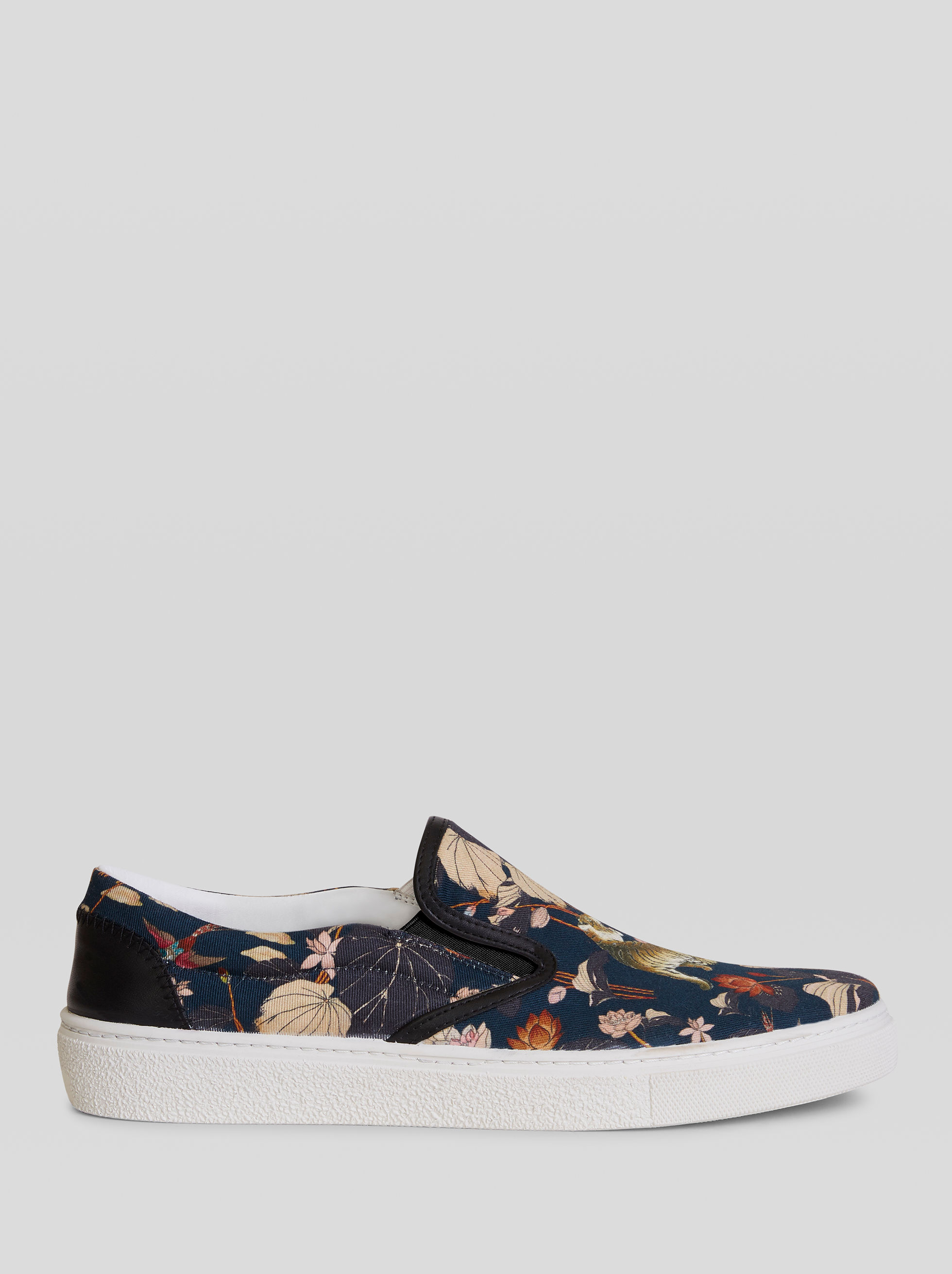 TIGER AND WATER LILY PRINT SLIP-ON SNEAKERS