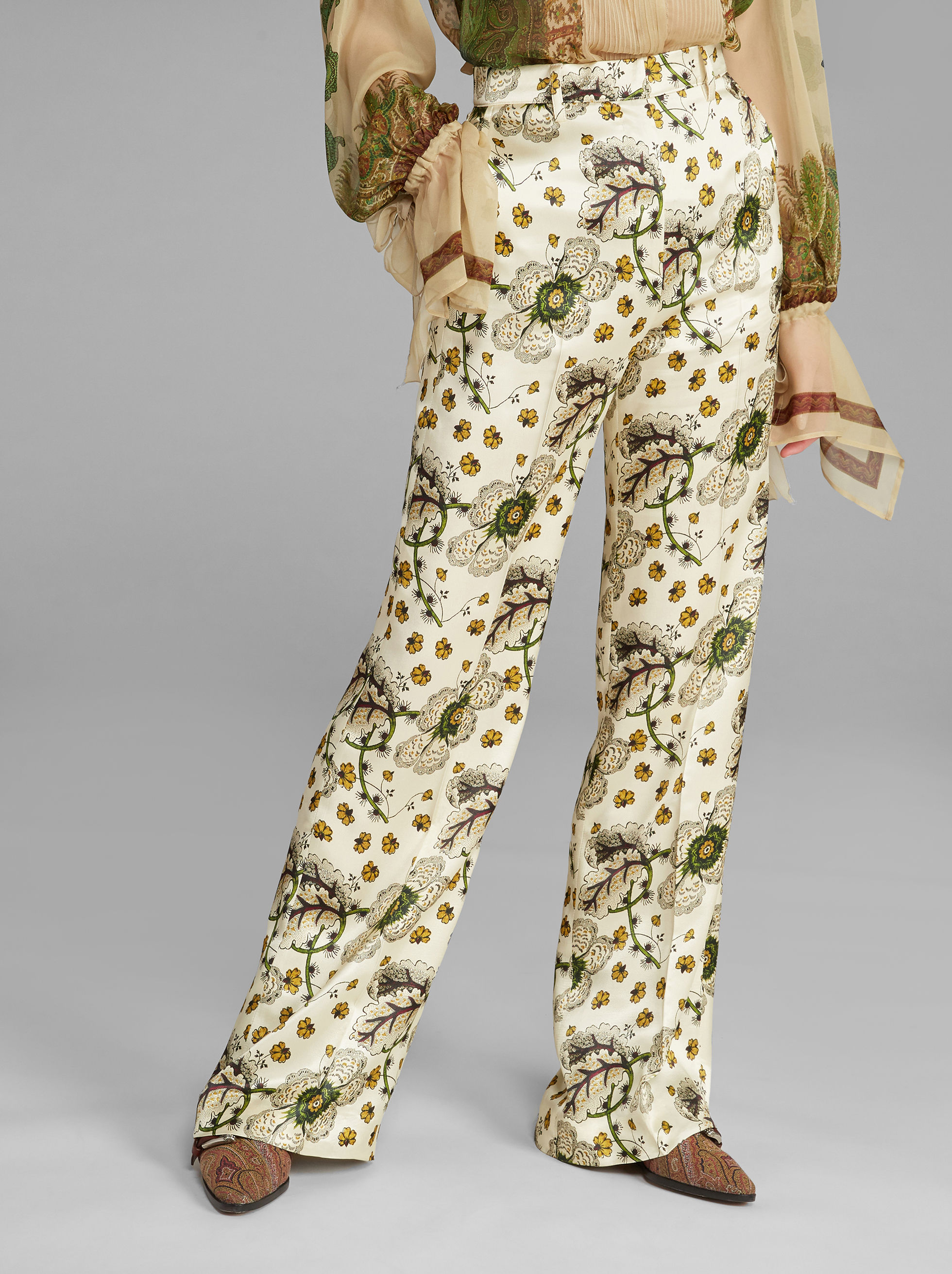 FLORAL-PRINT PALAZZO TROUSERS