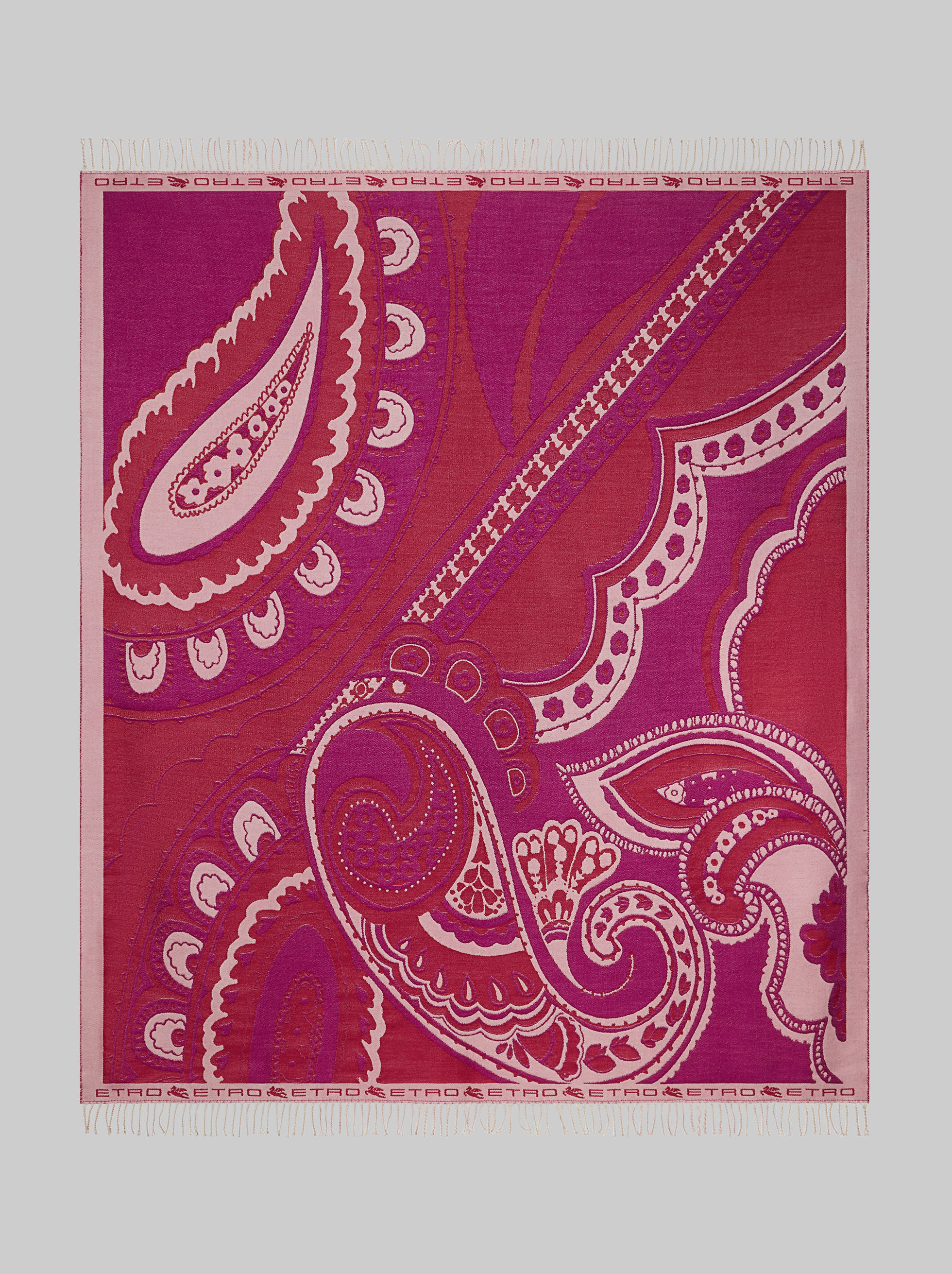 WOOL THROW WITH PAISLEY PATTERNS