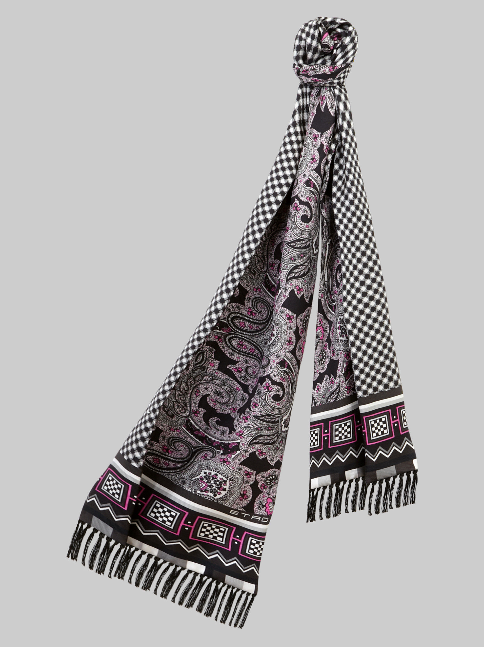 FRINGED REVERSIBLE SILK SCARF