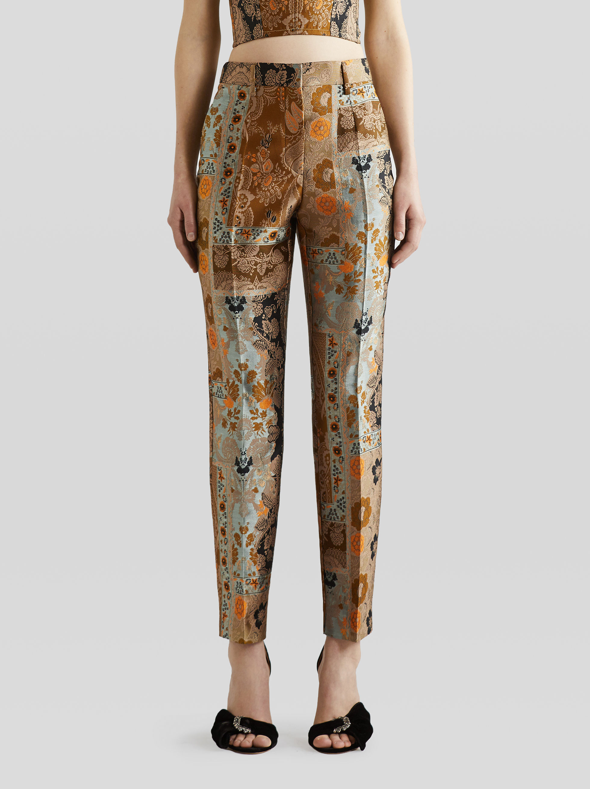TAILORED PATCHWORK JACQUARD TROUSERS