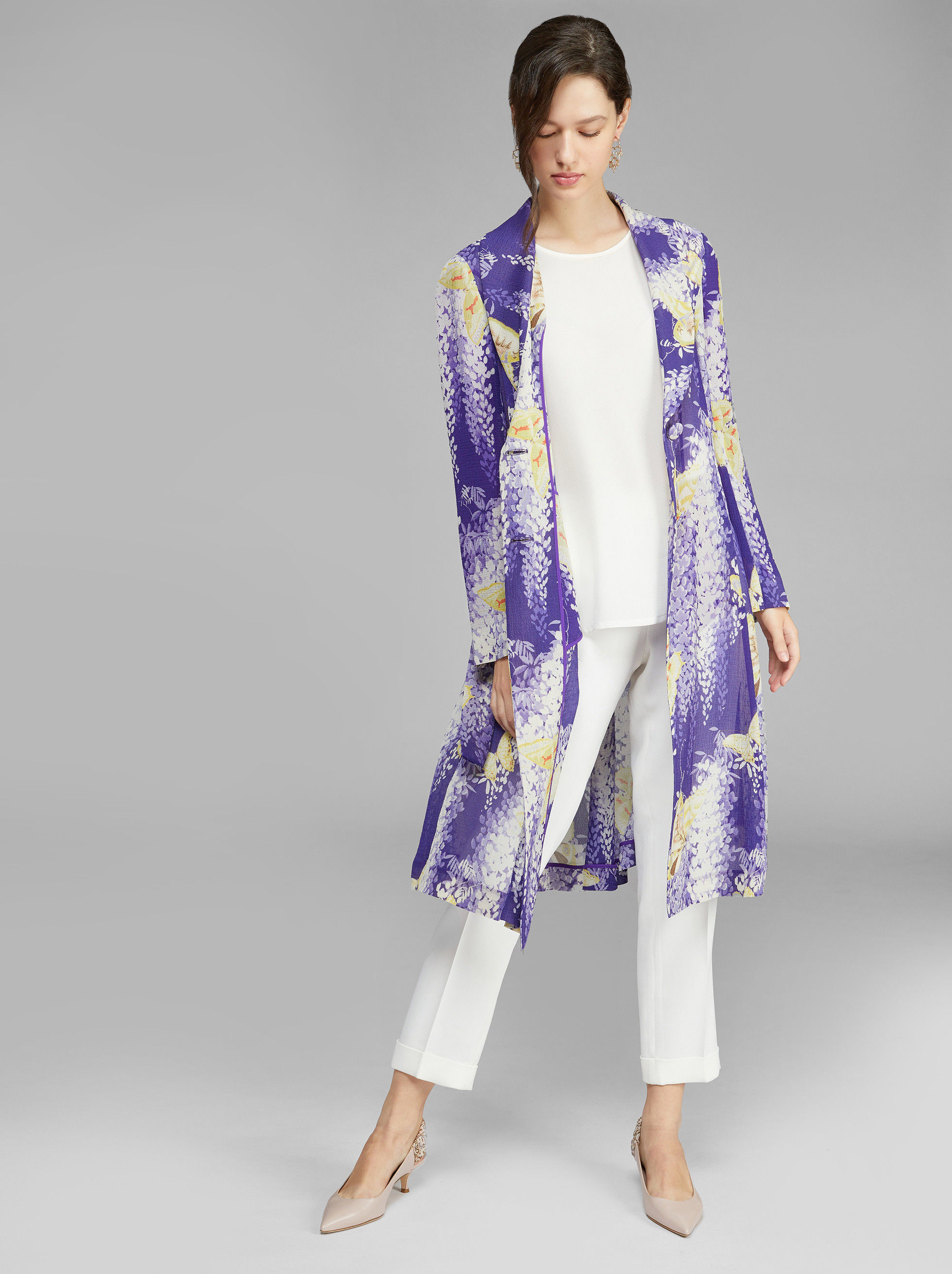 LIGHT PRINTED SILK CRÉPON COAT