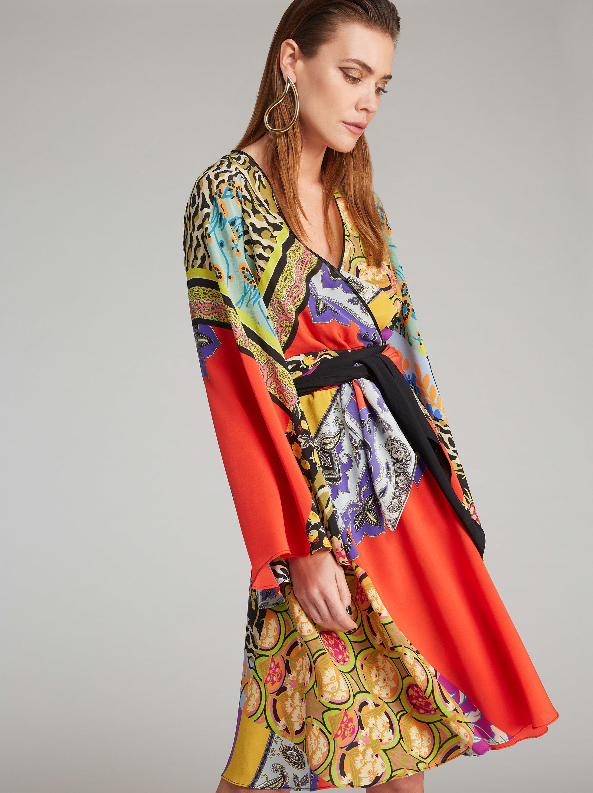 SILK PATCHWORK-PRINT MINI DRESS