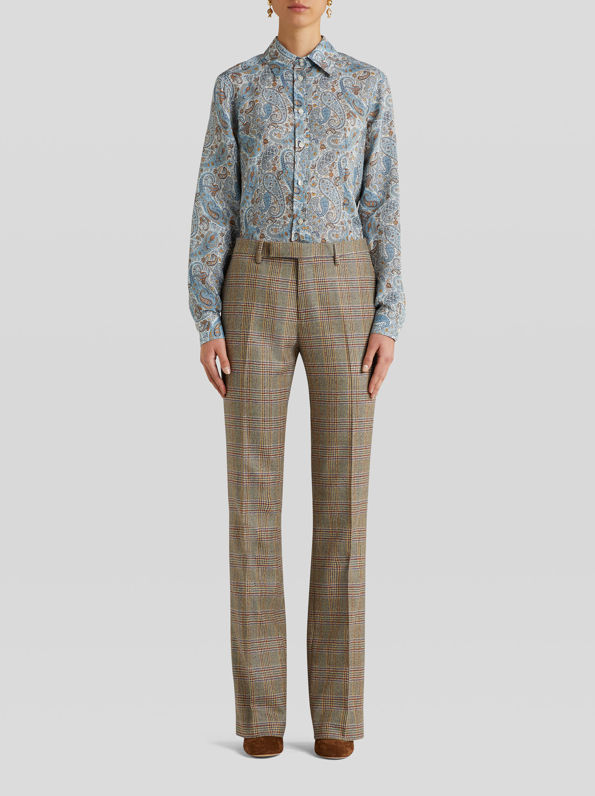TAILORED TROUSERS IN PRINCE OF WALES CHECK