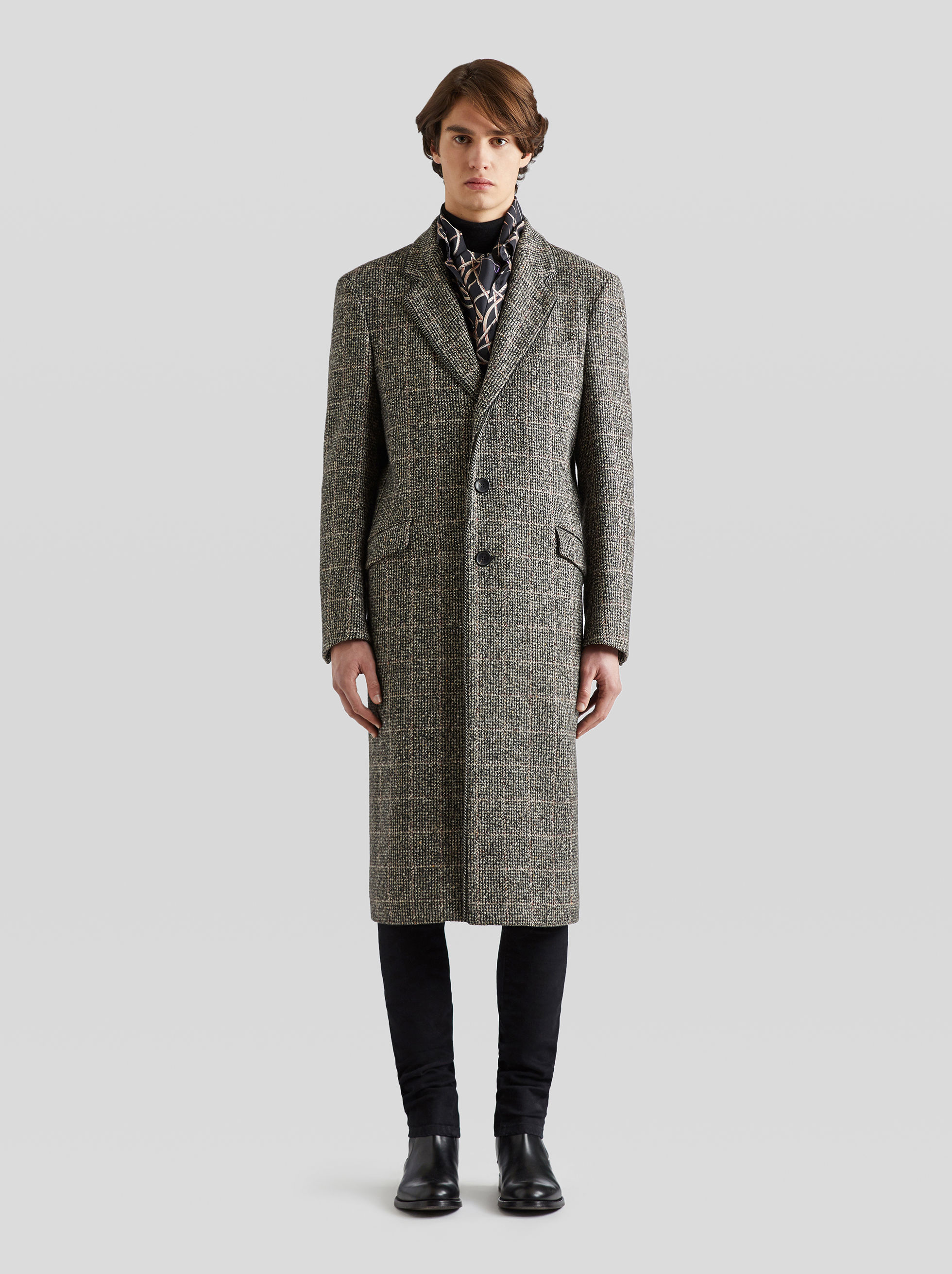 CHECK WOOL COAT WITH CHAIN