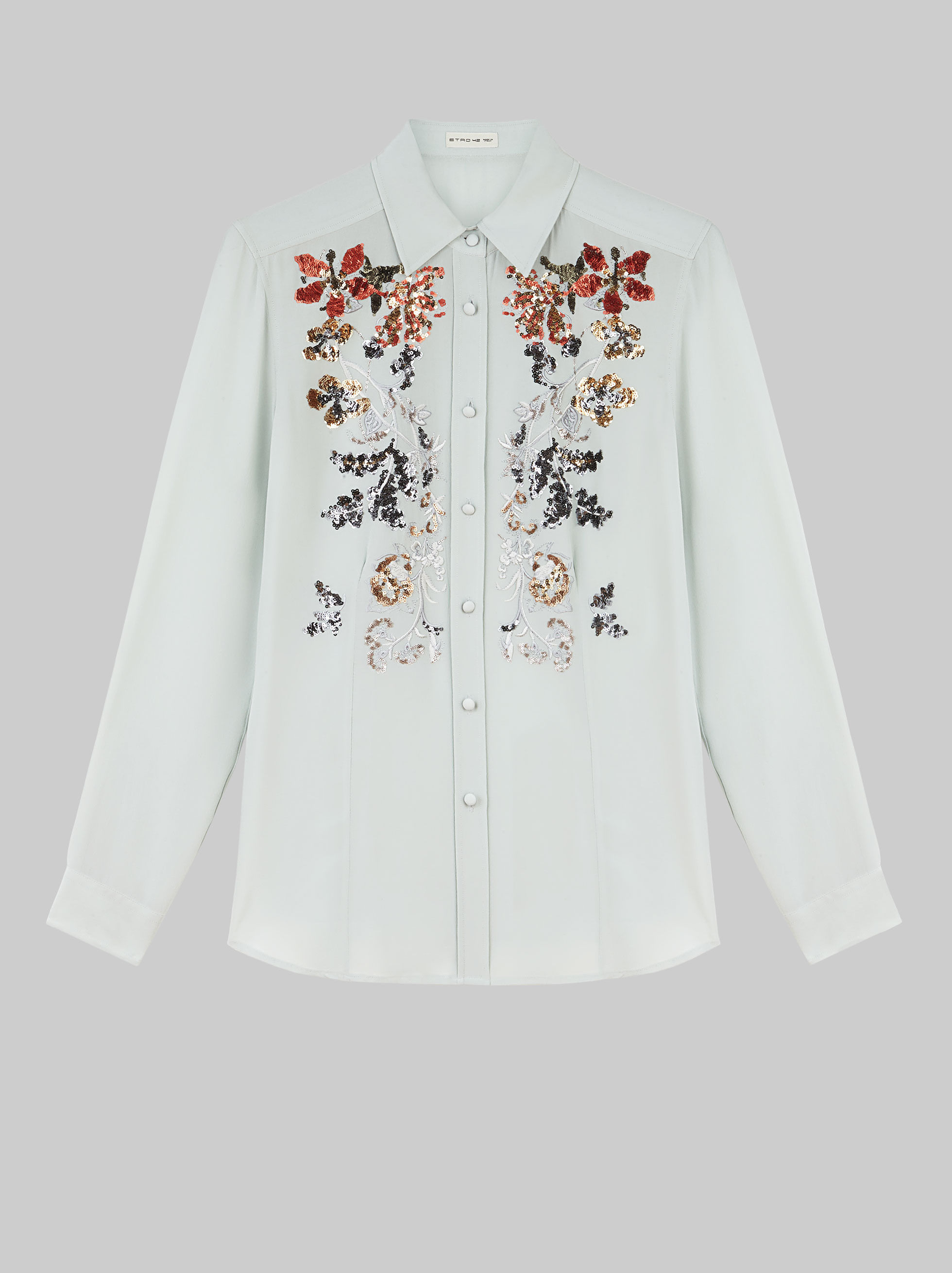 SHIRT WITH FLORAL EMBROIDERY AND SEQUINS