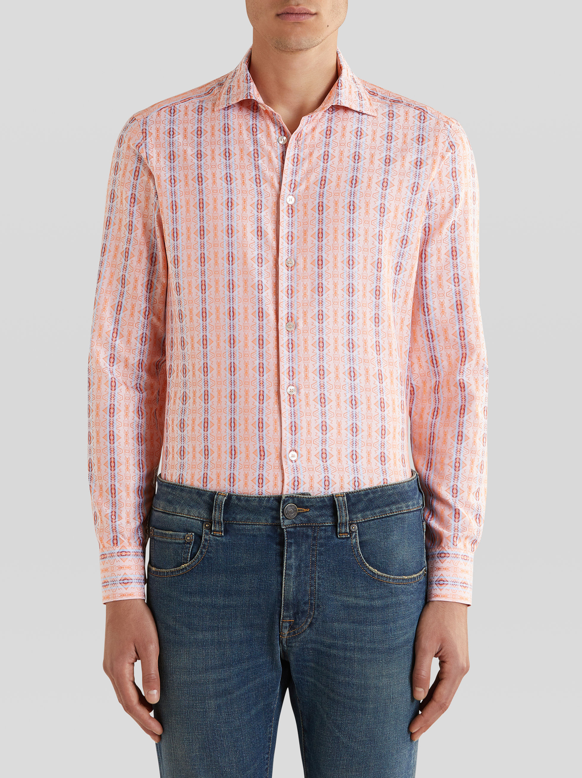 GEOMETRIC PATTERN JACQUARD SHIRT