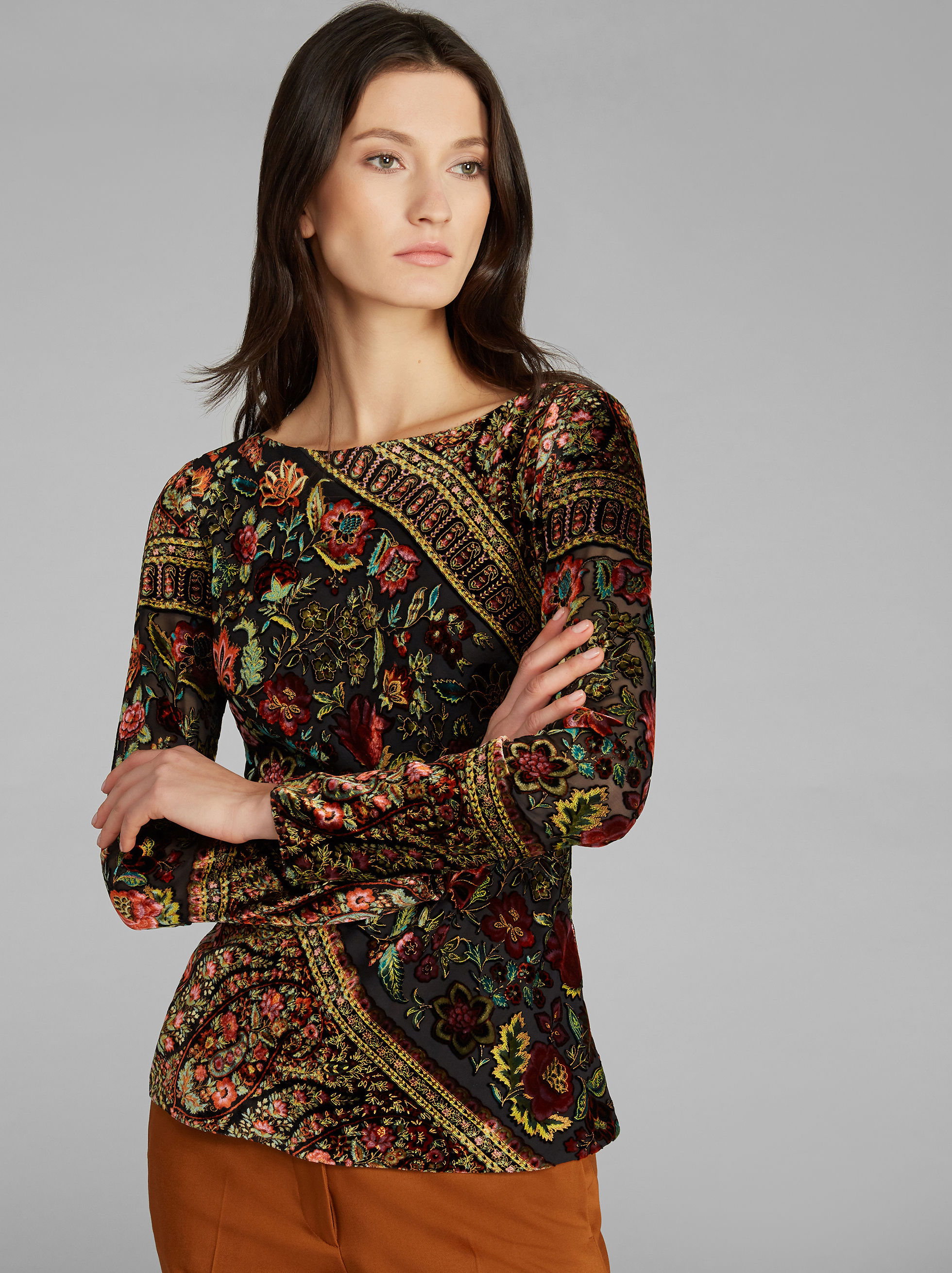 FLORAL-PRINT LONG-SLEEVED VELVET TOP