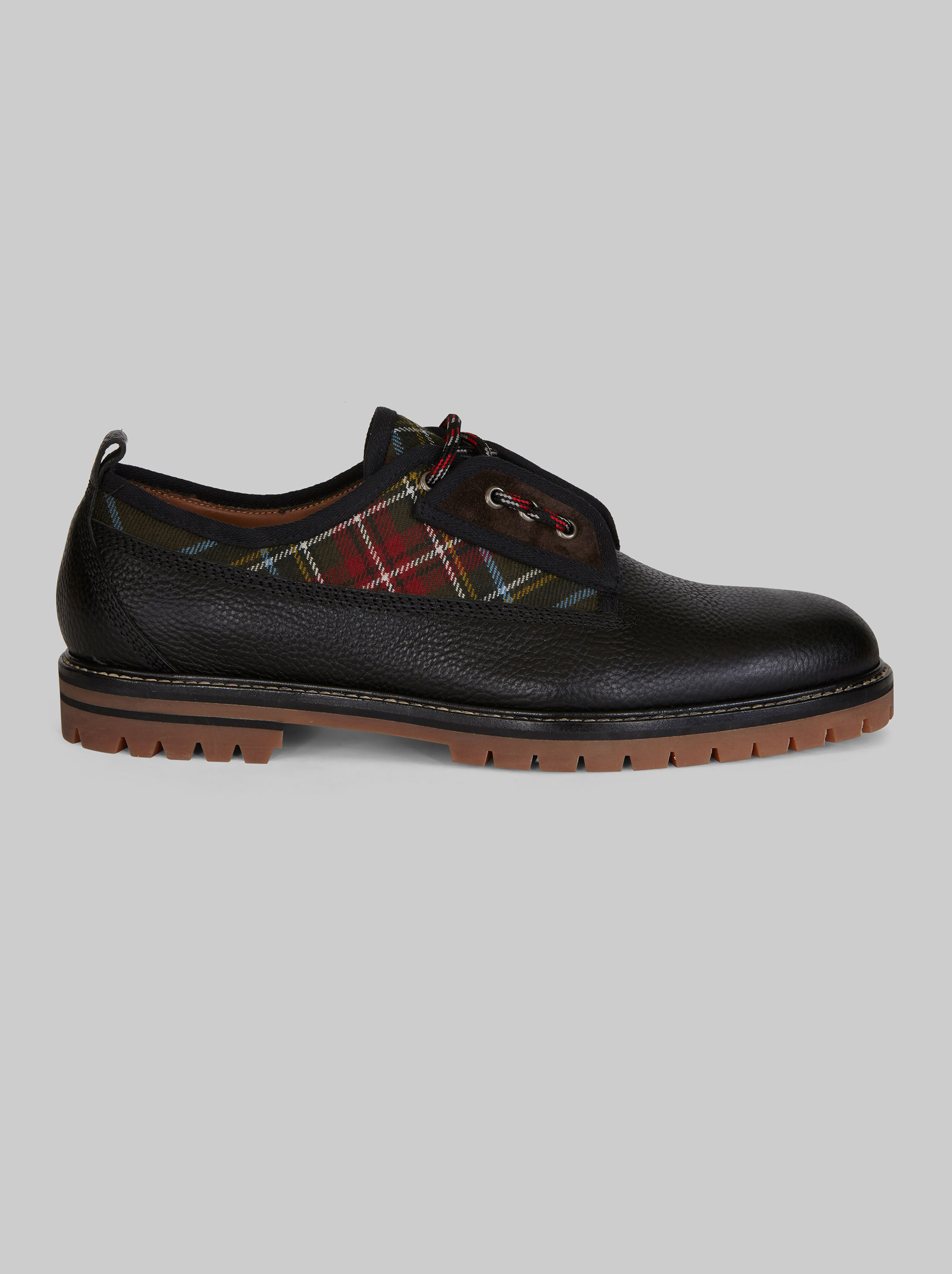 LEATHER LACED SHOES WITH TARTAN INSERTS