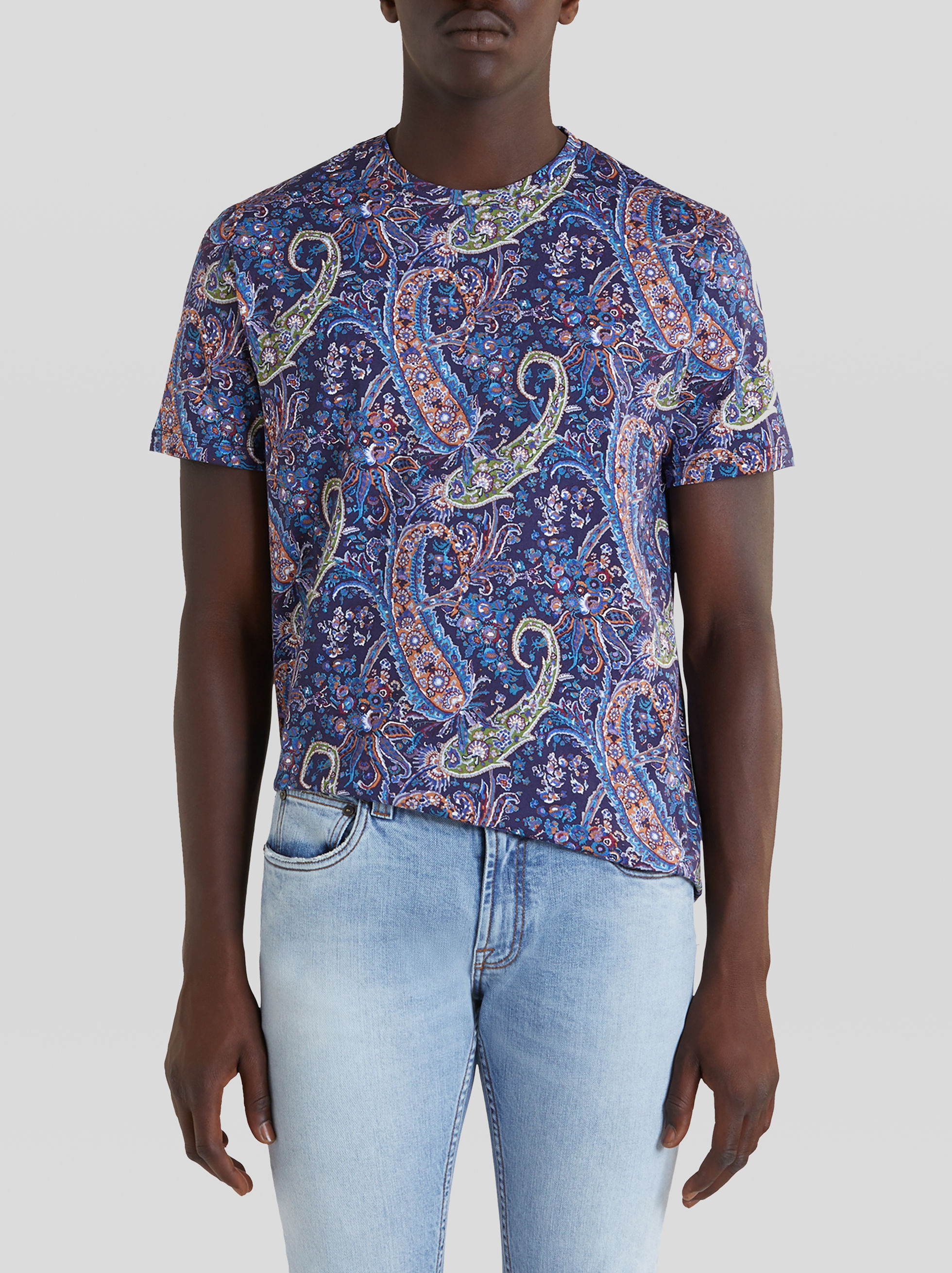 COTTON T-SHIRT WITH FLORAL PAISLEY PRINT