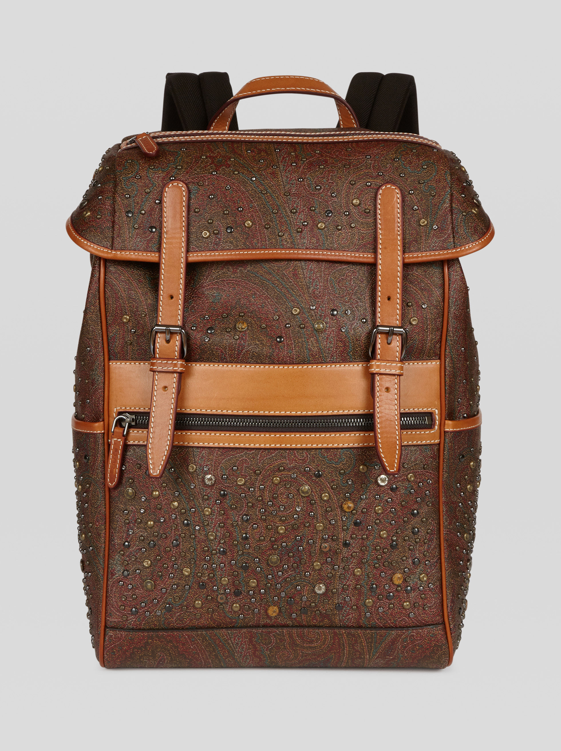 PAISLEY FABRIC BACKPACK WITH STUDS