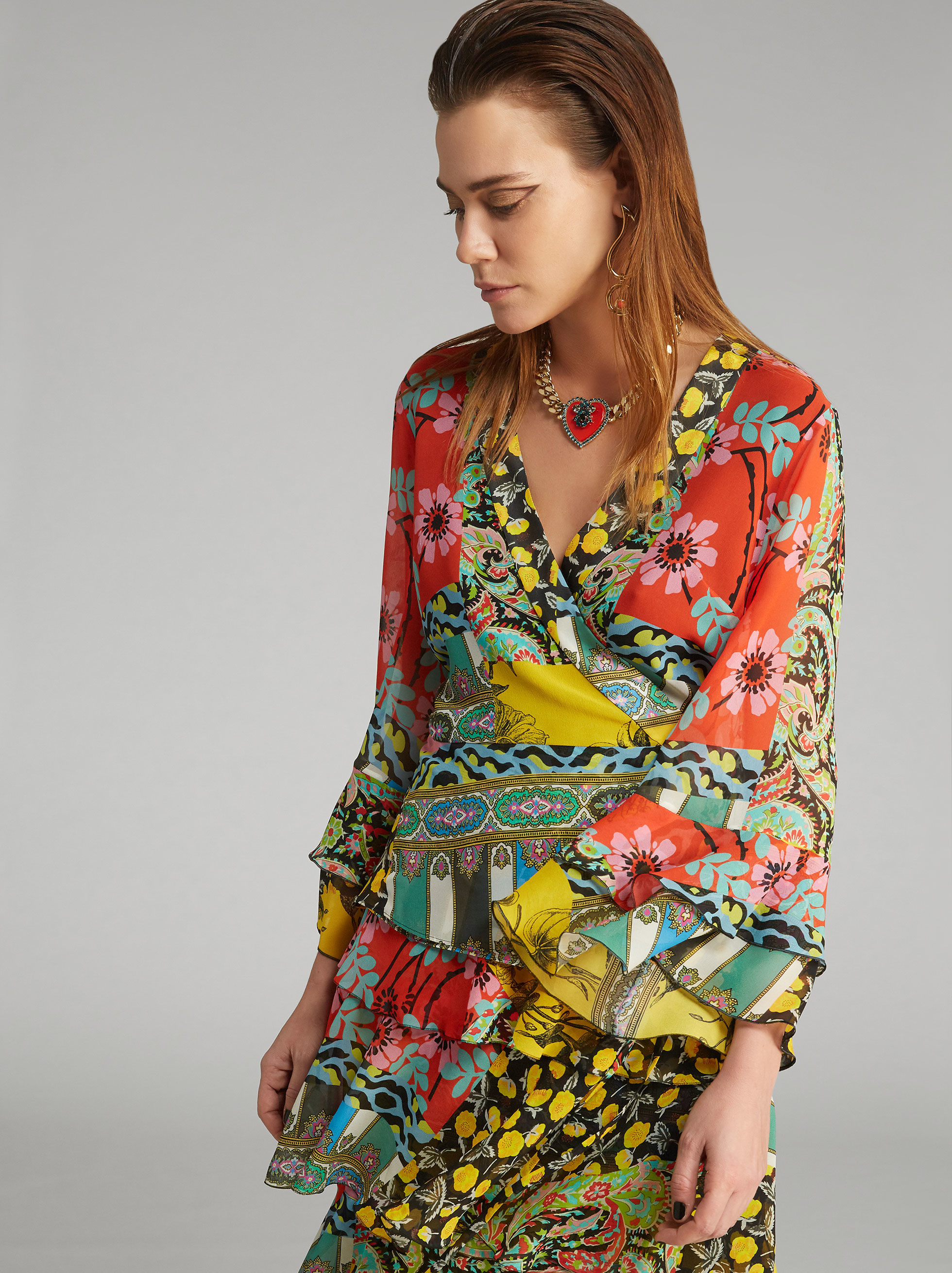 SILK PATCHWORK-PRINT TOP WITH RUFFLES