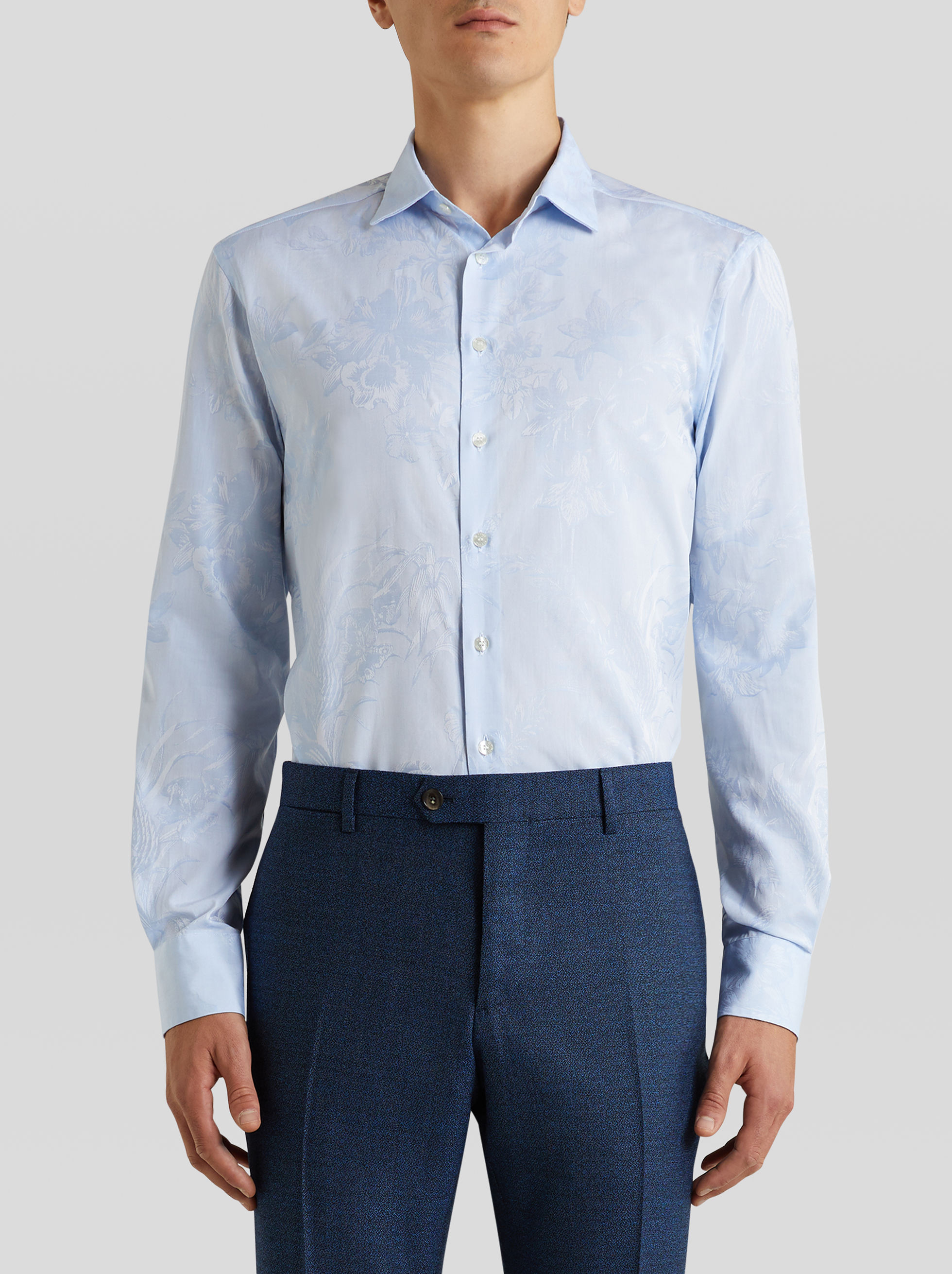 JACQUARD SHIRT WITH LEAFY PATTERN