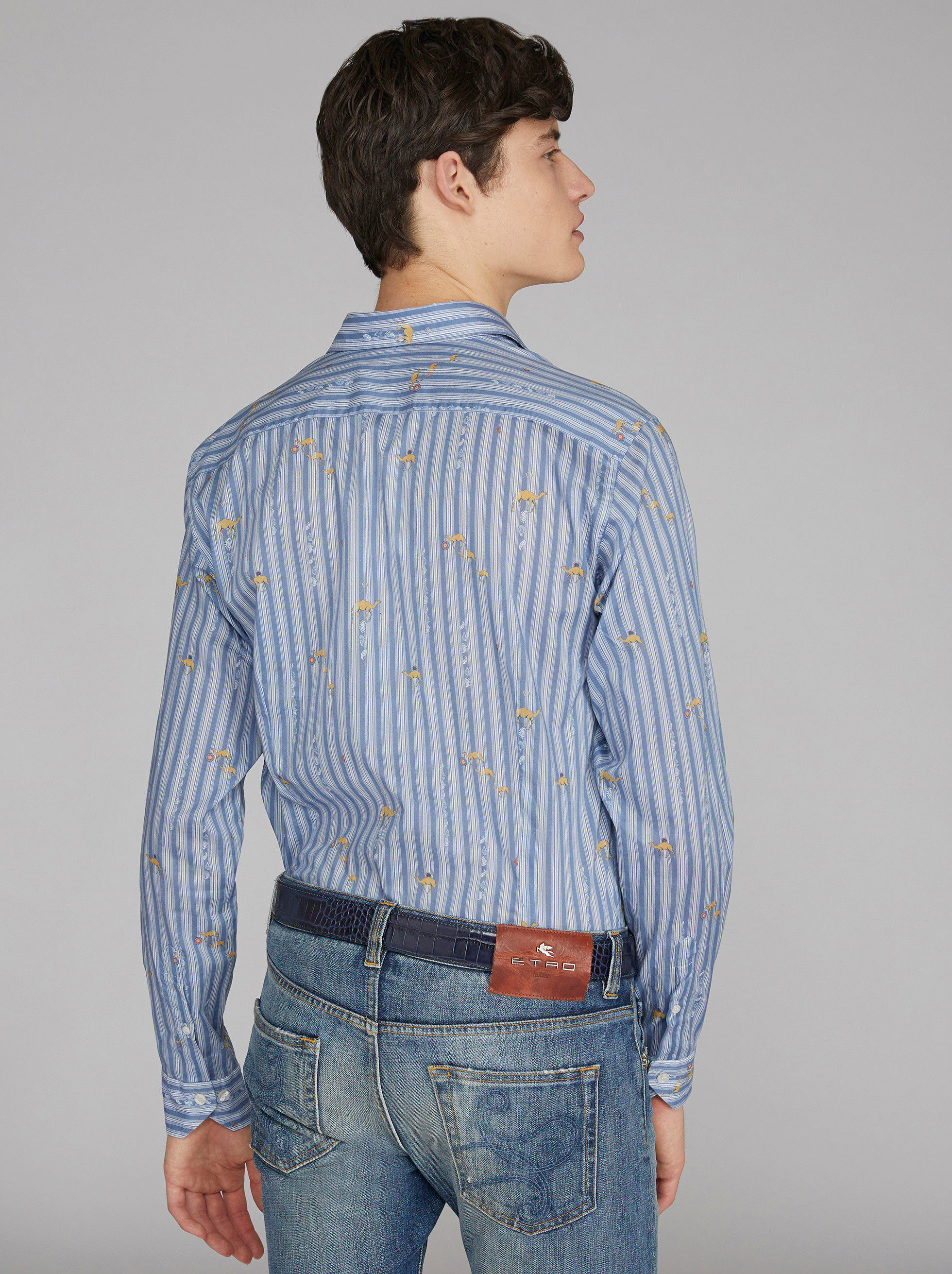 STRIPED COTTON SHIRT WITH CAMELS
