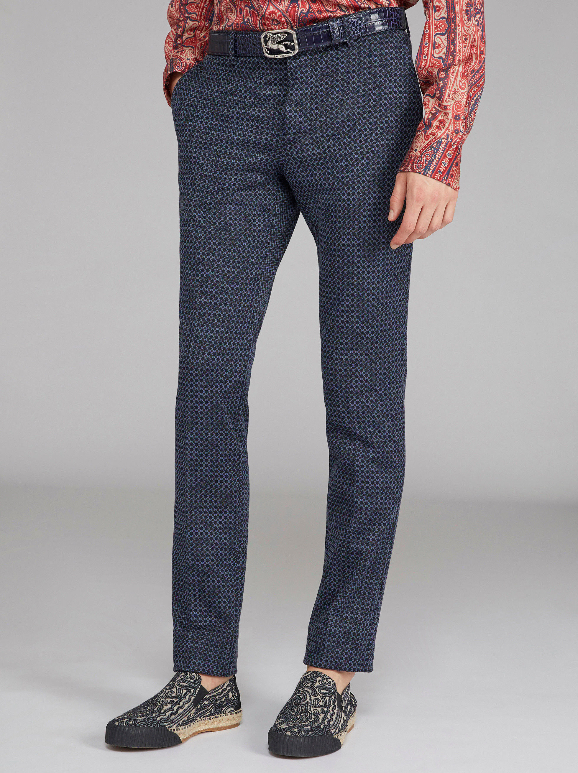 JERSEY JACQUARD TAILORED TROUSERS