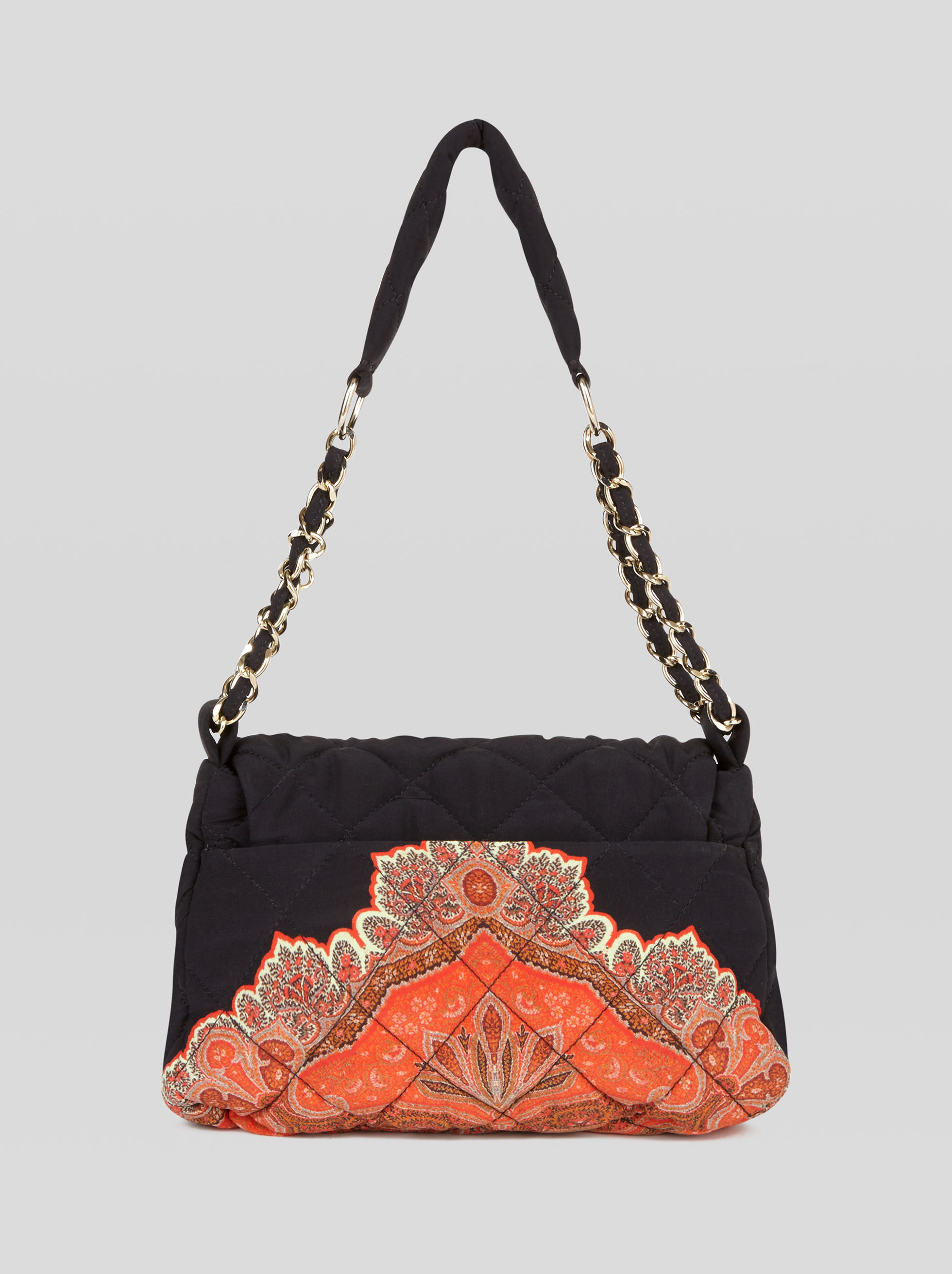 SMALL MATELASSÉ BAG WITH PAISLEY PRINT