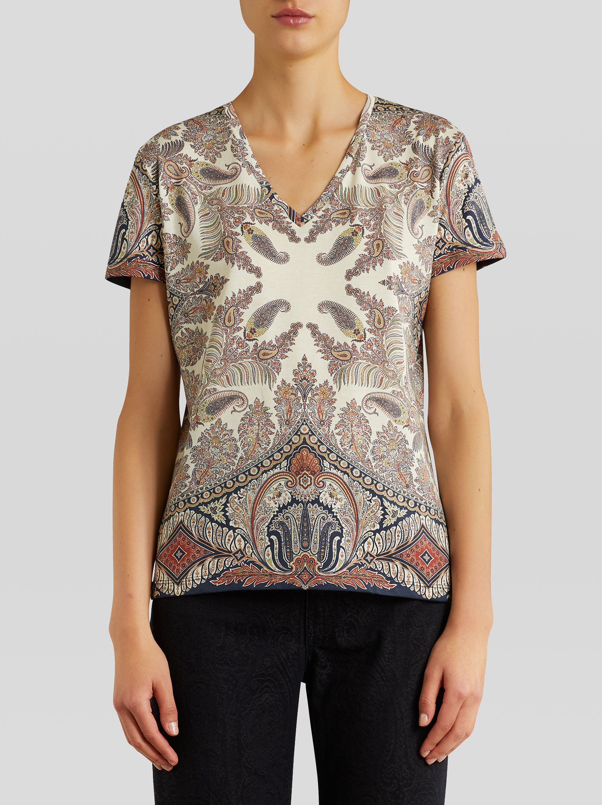 FLORAL PAISLEY JERSEY T-SHIRT