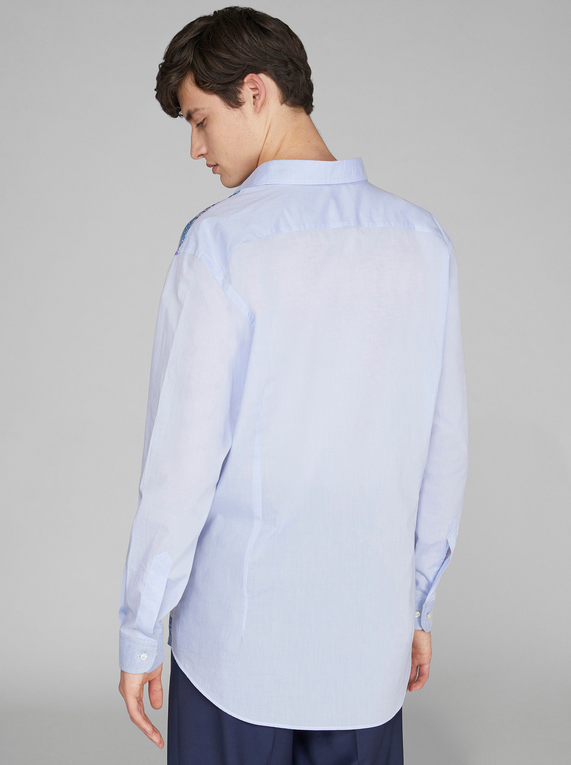 COTTON SHIRT WITH SILK INSERT